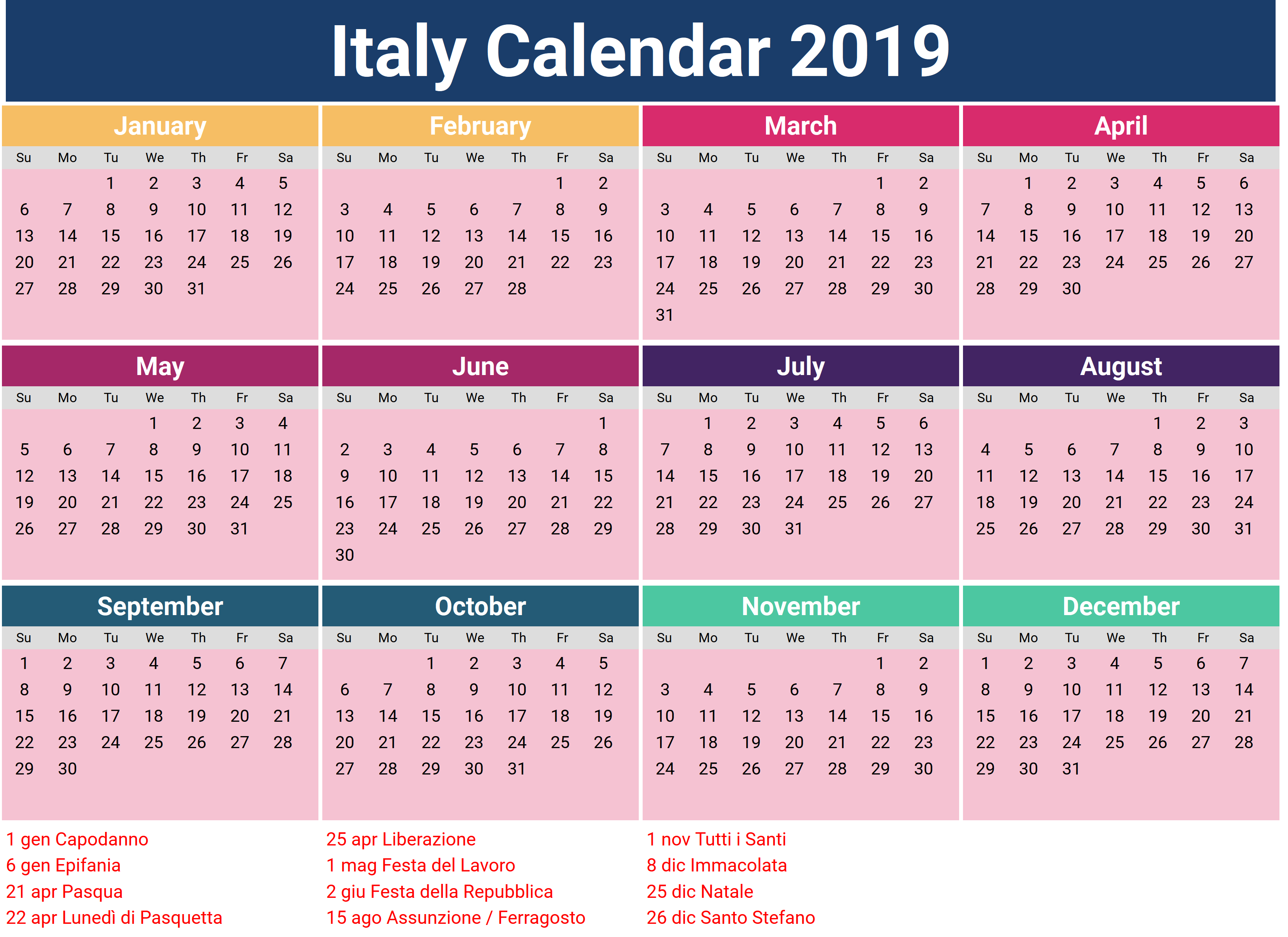 Public Holidays in Italy 2019