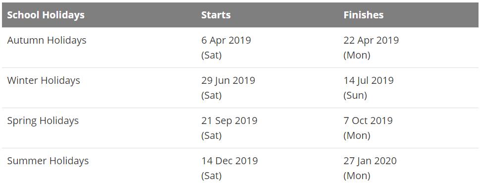 QLD School Holidays 2018 -19 Calendar