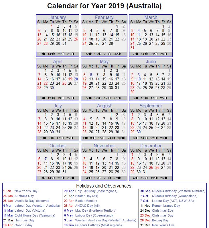 Printable Calendar 2019 with QLD Holidays