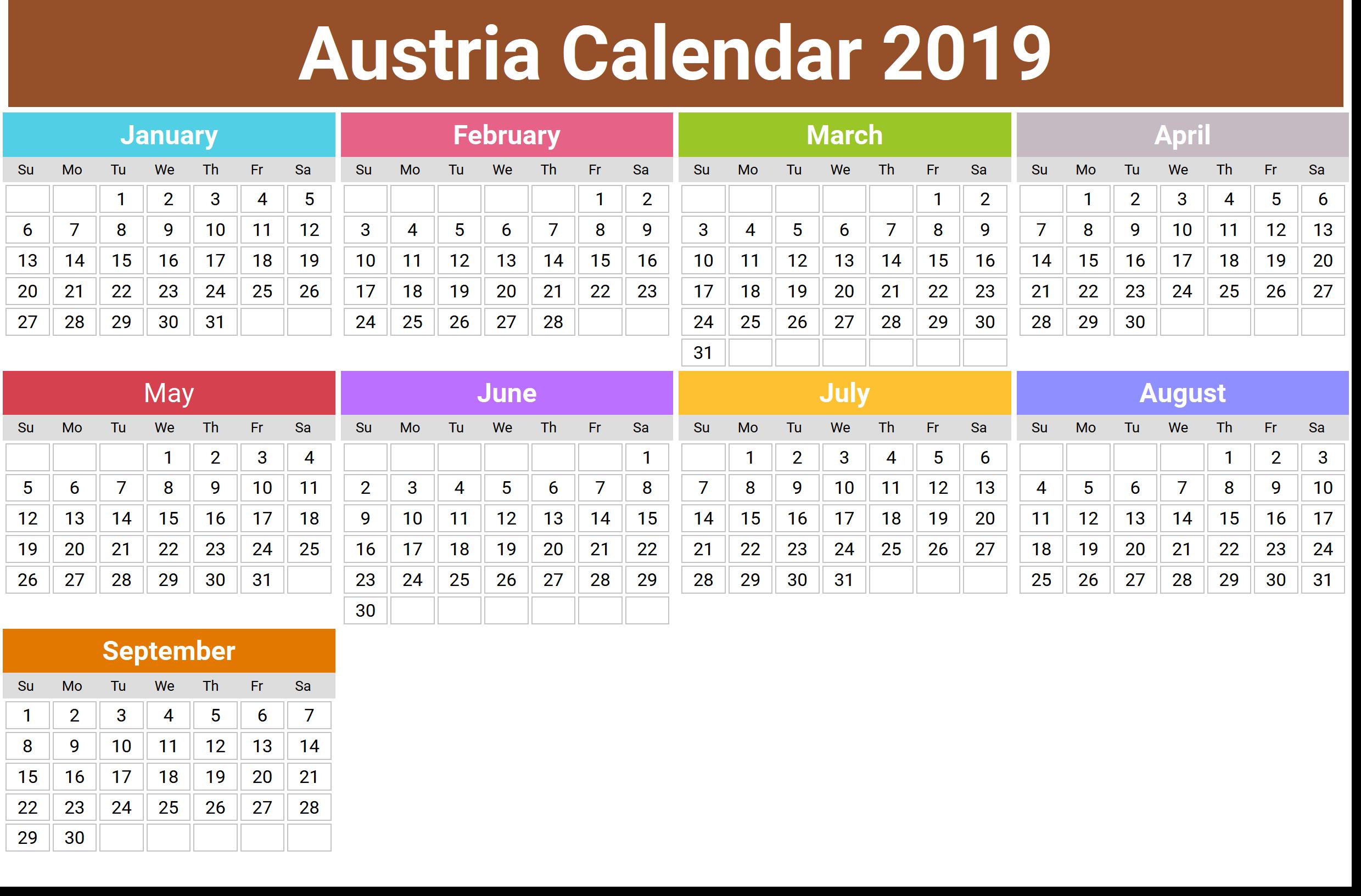 Austria Calendar 2019 Printable
