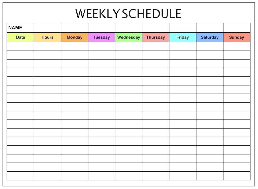 Weekly Schedule Calendar