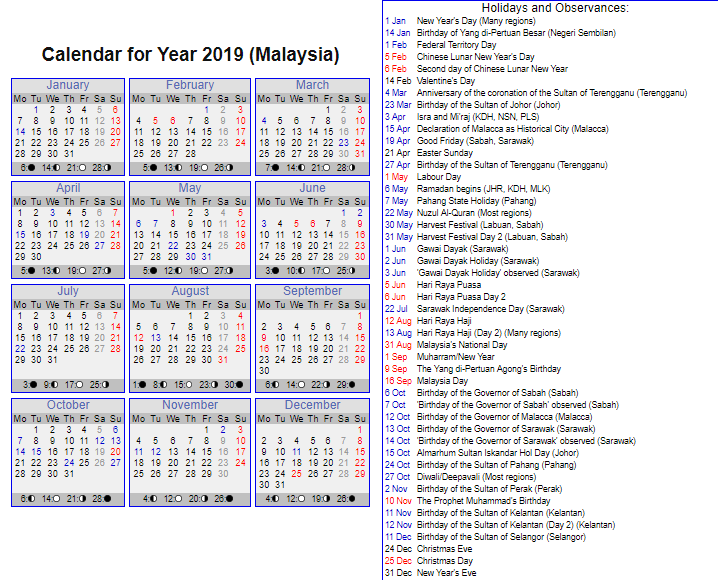Malaysia Bank Holiday 2019 Templates