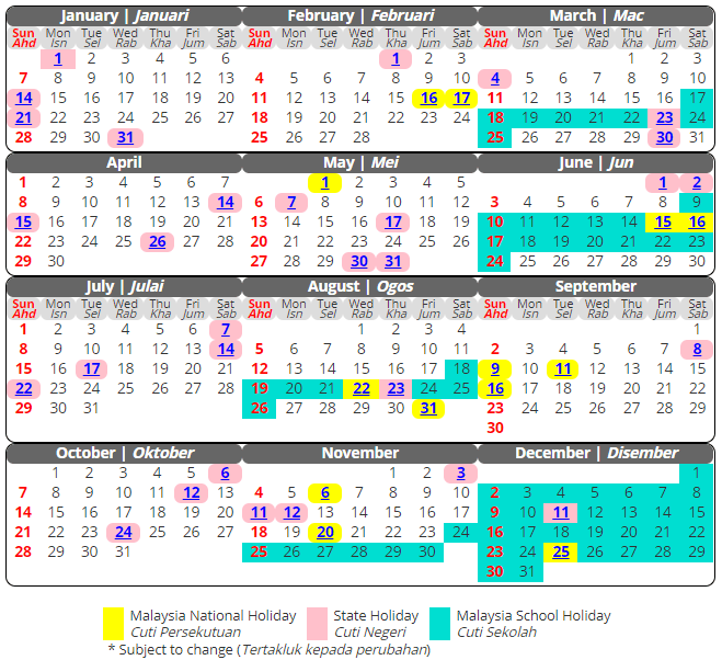 School Holidays 2019 Malaysia Free