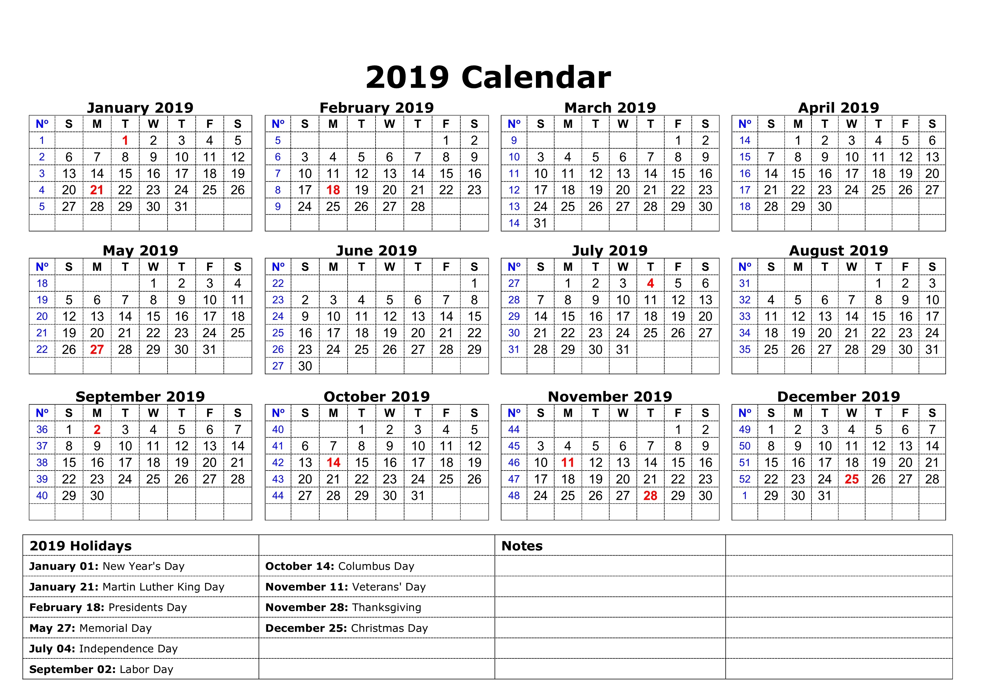 Austin Calendar 2019 Printable