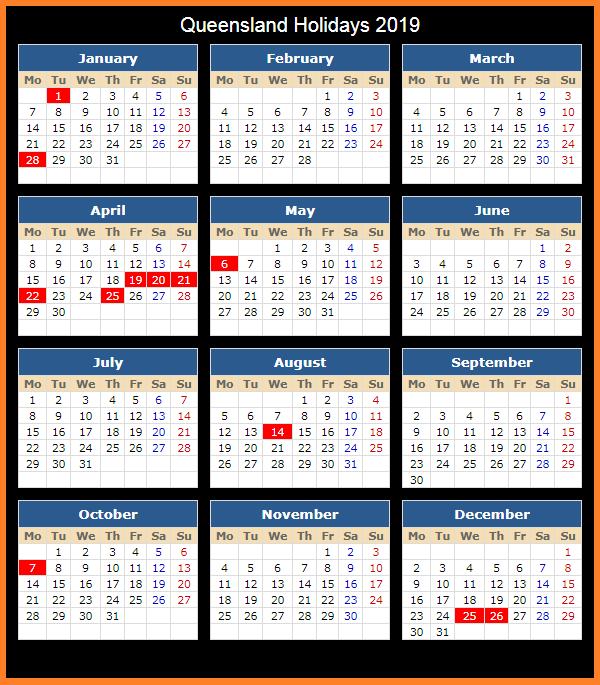 Editable Calendar 2019 with QLD Holidays