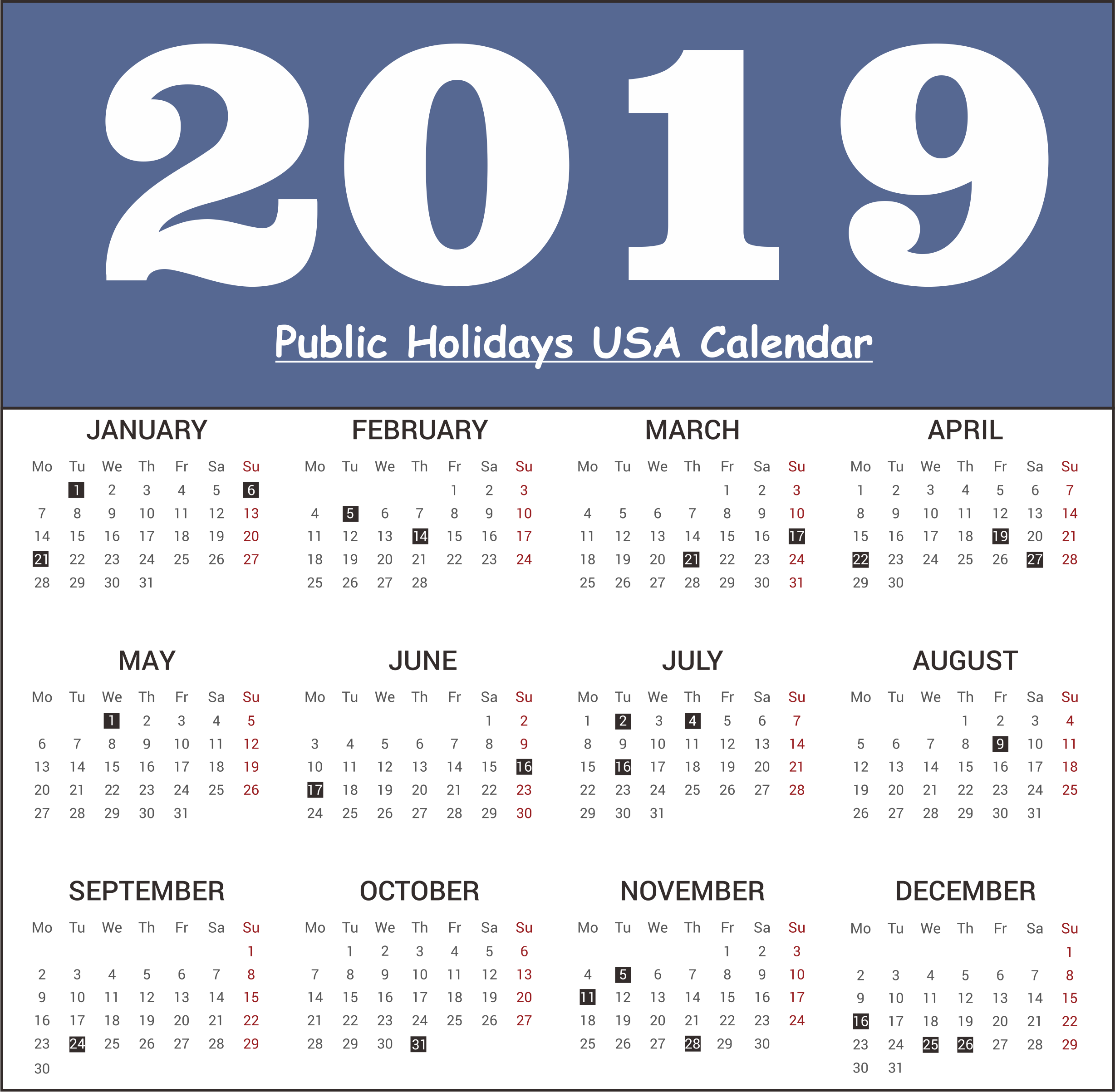 USA (United State of America) Public Holiday 2019