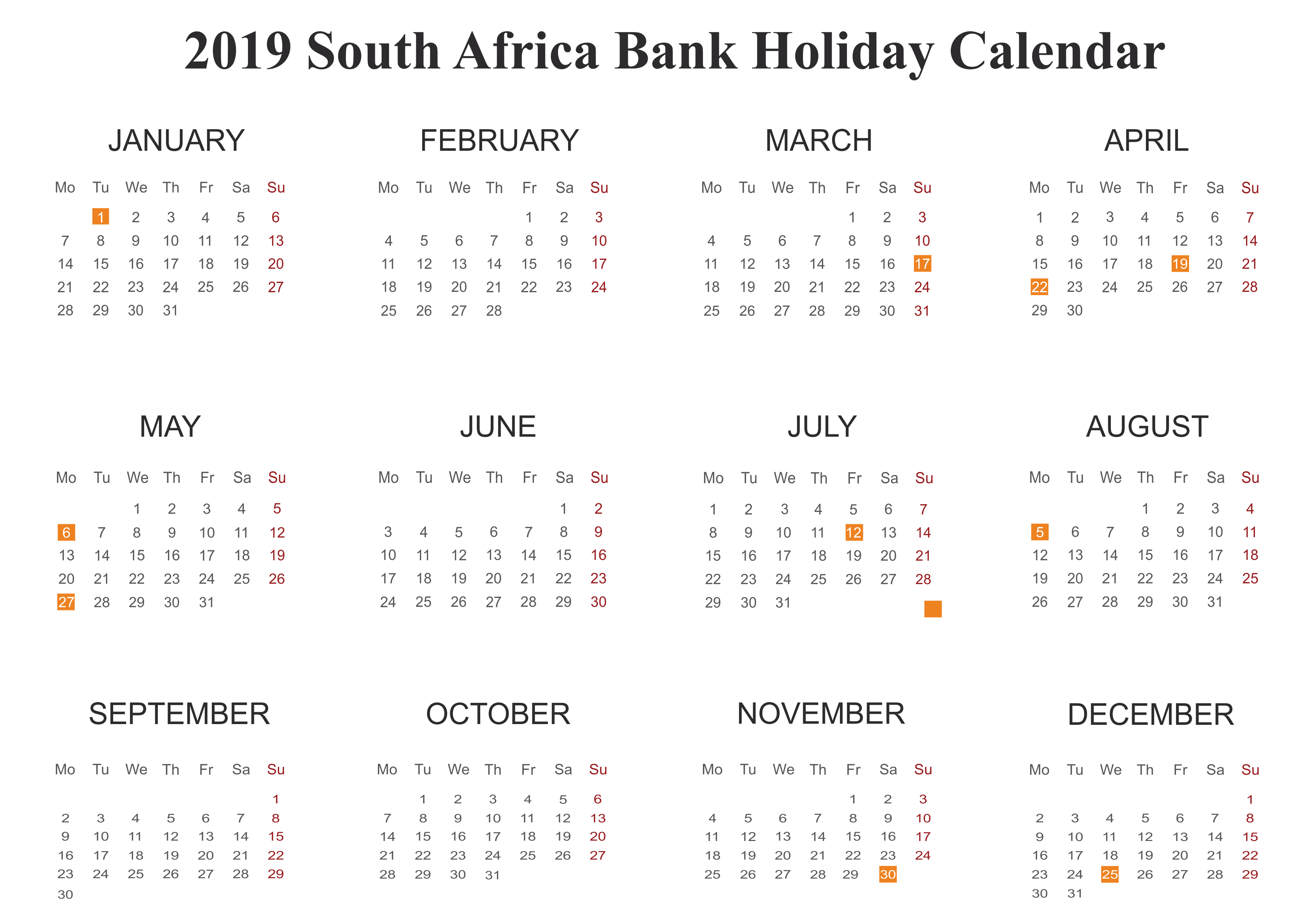 2019 Public Holidays in SA