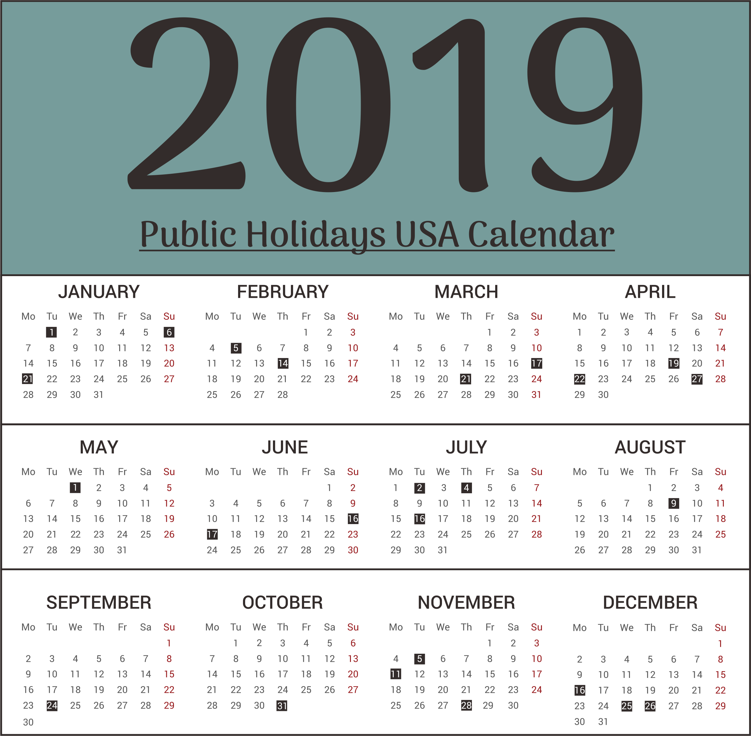 USA Public Holiday 2019 Calendar