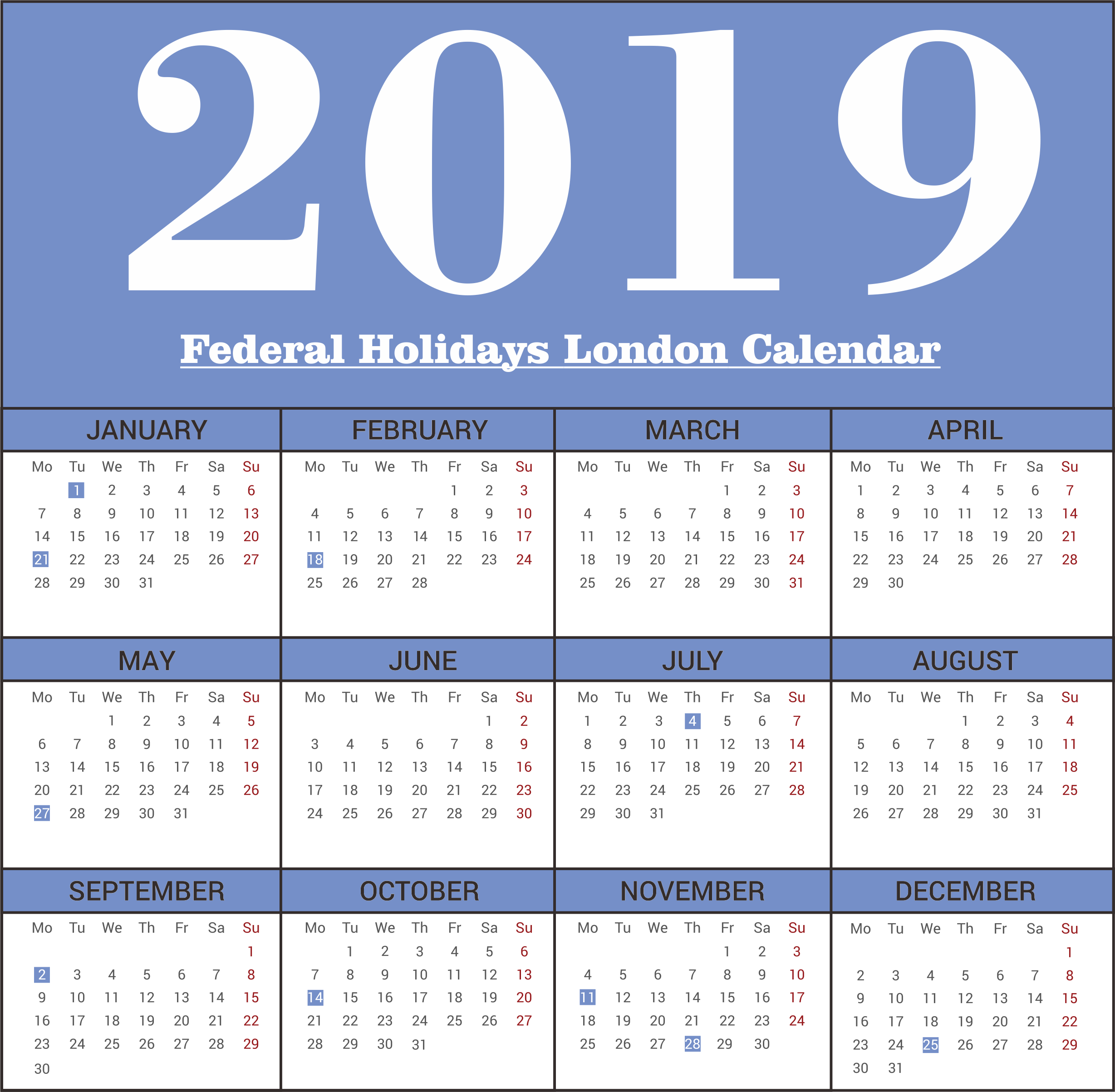 2019 London Federal Holidays Calendar