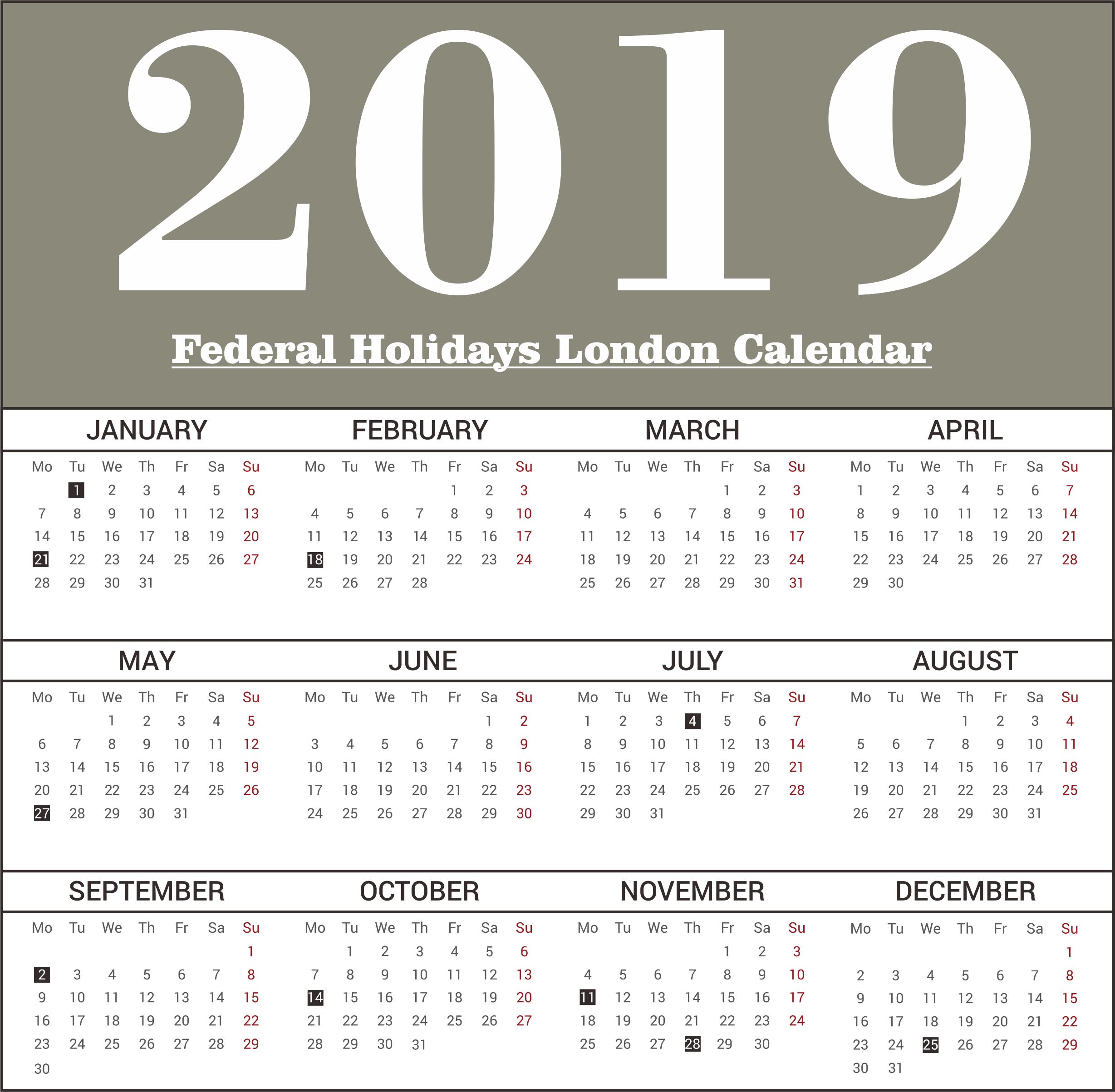 London Federal Holidays 2019 Templates