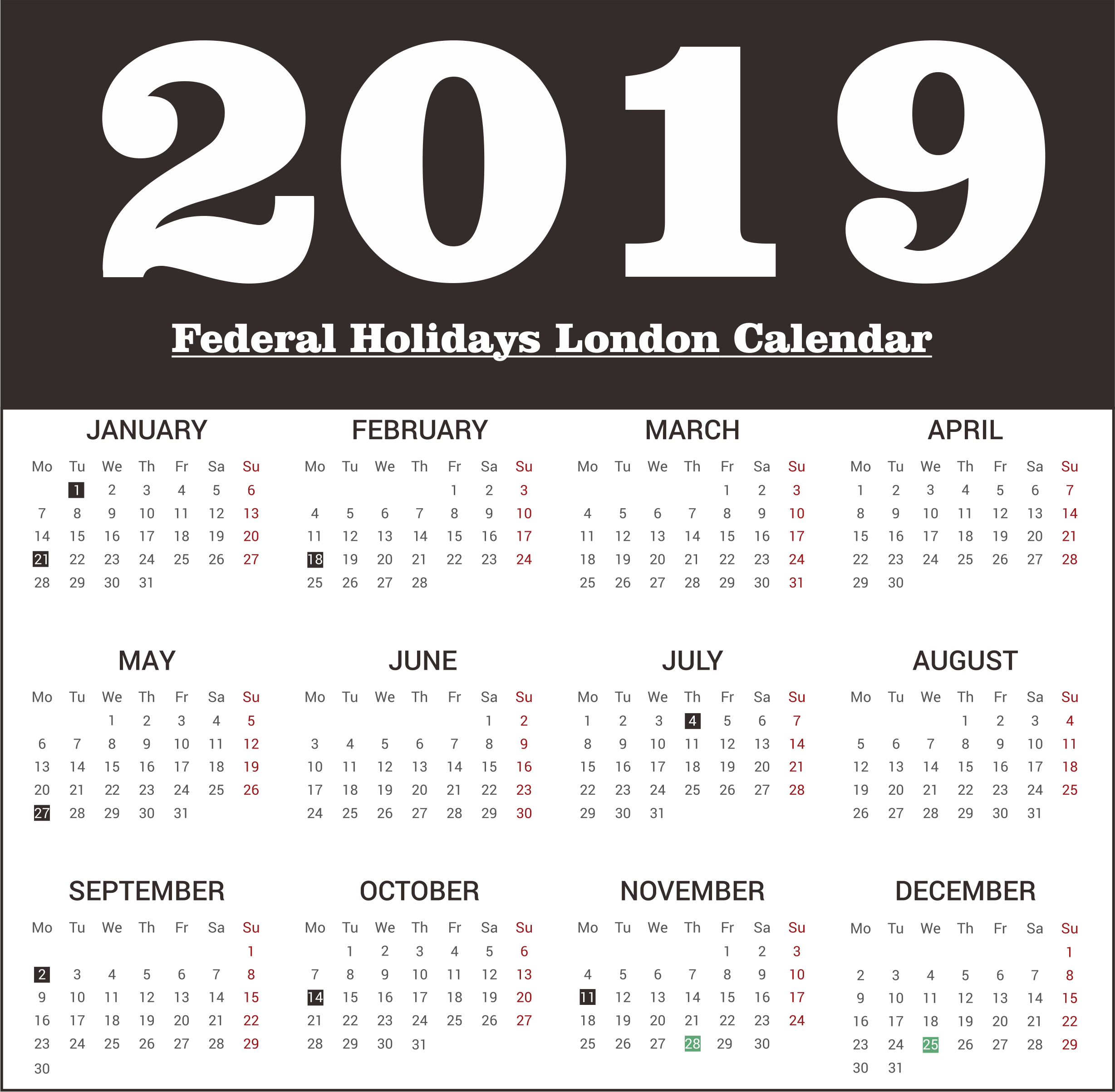 Federal Holidays 2019 London