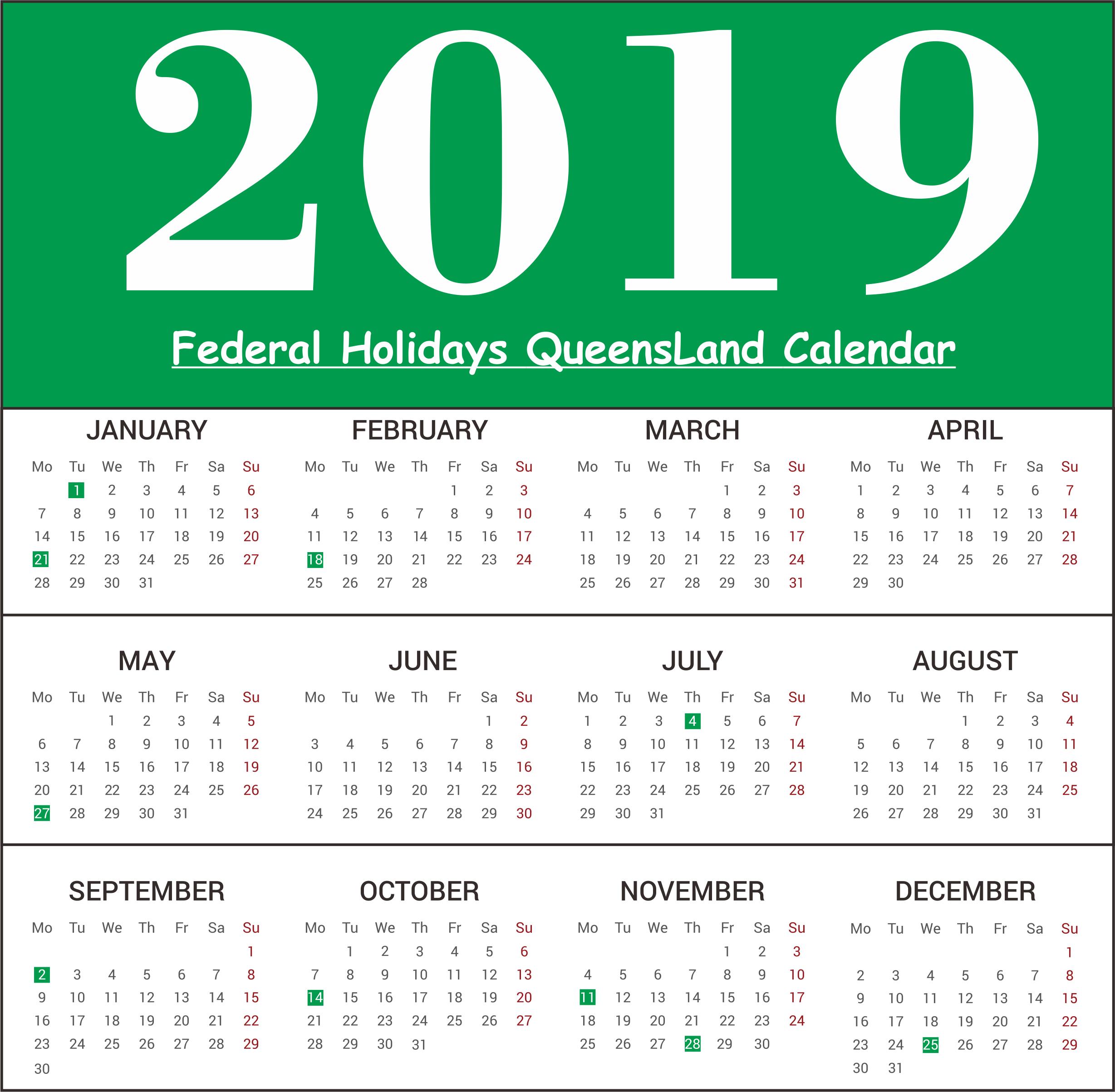 QLD Holiday Calendar 2019
