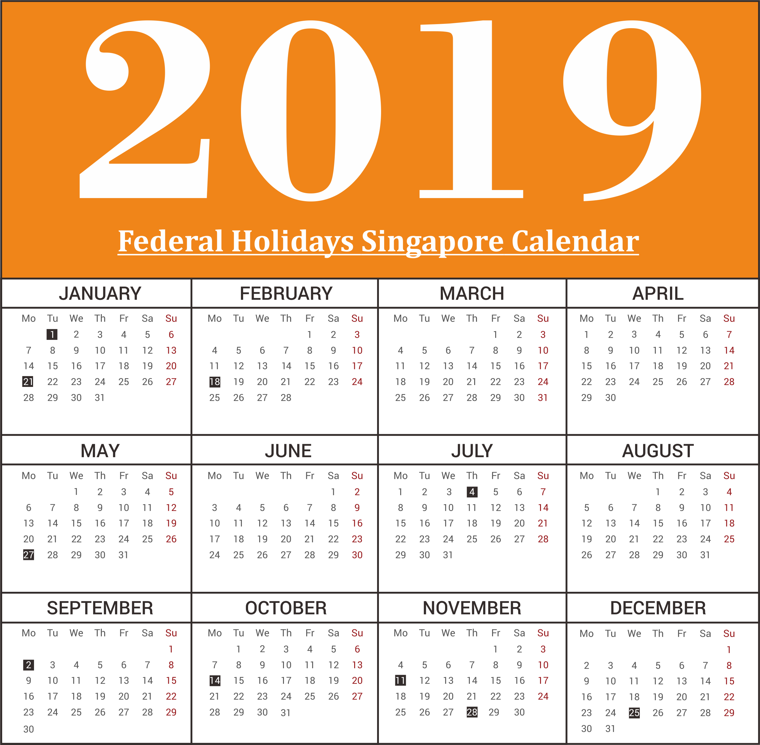 Singapore Federal Holiday 2019 Print