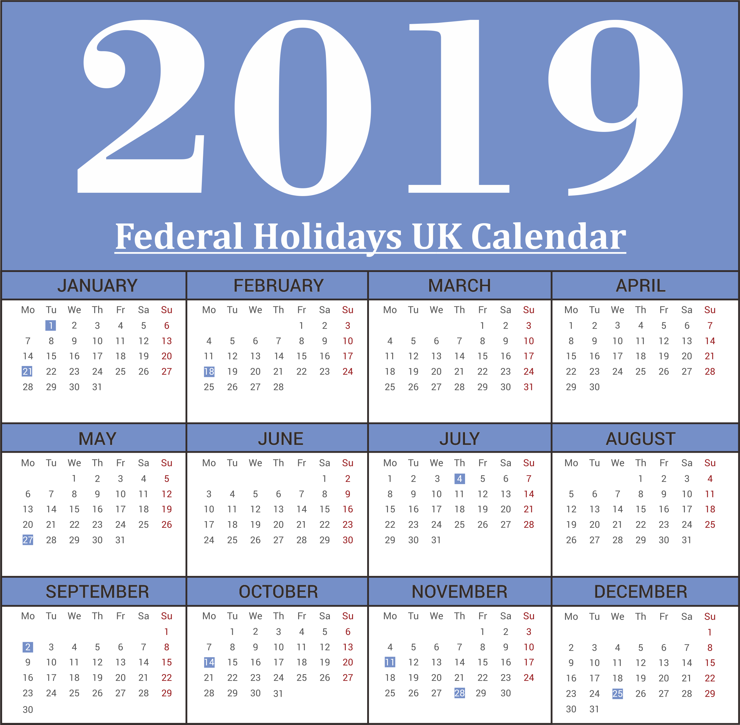 UK Federal 2019 Holiday Calendar