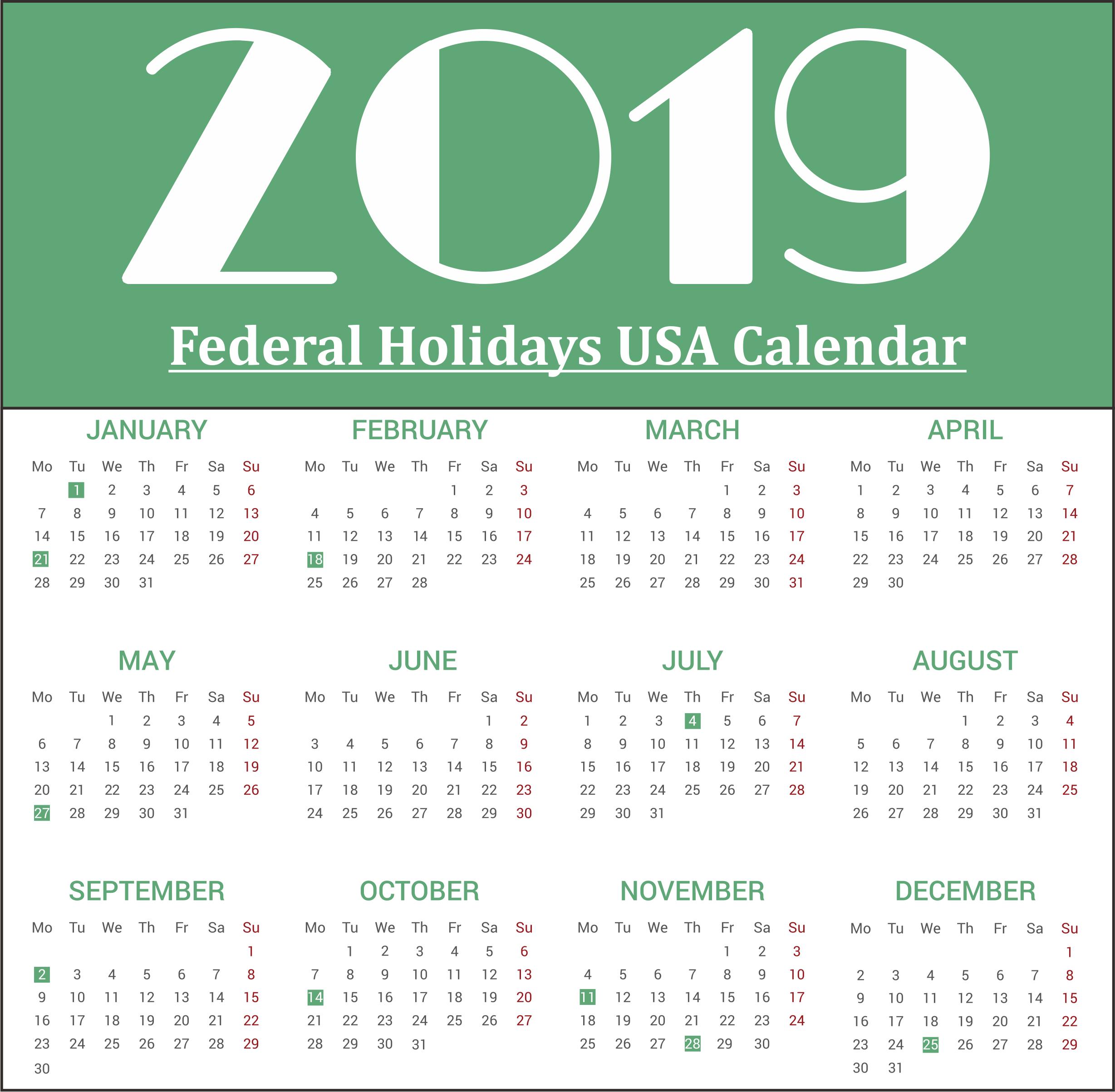 USA (United State of America) Federal Holidays Print 2019