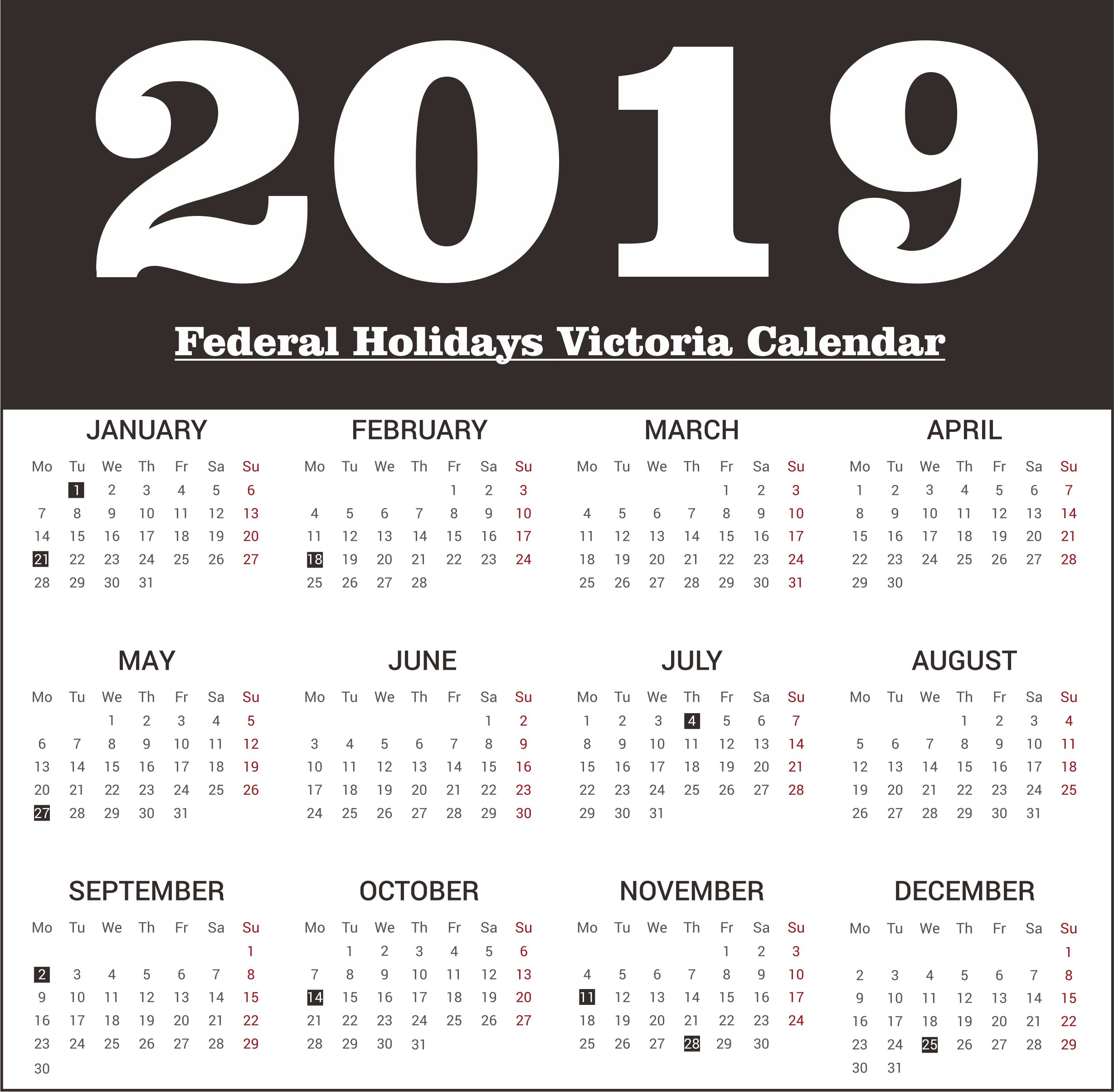 Victoria 2019 Federal Holidays Printable