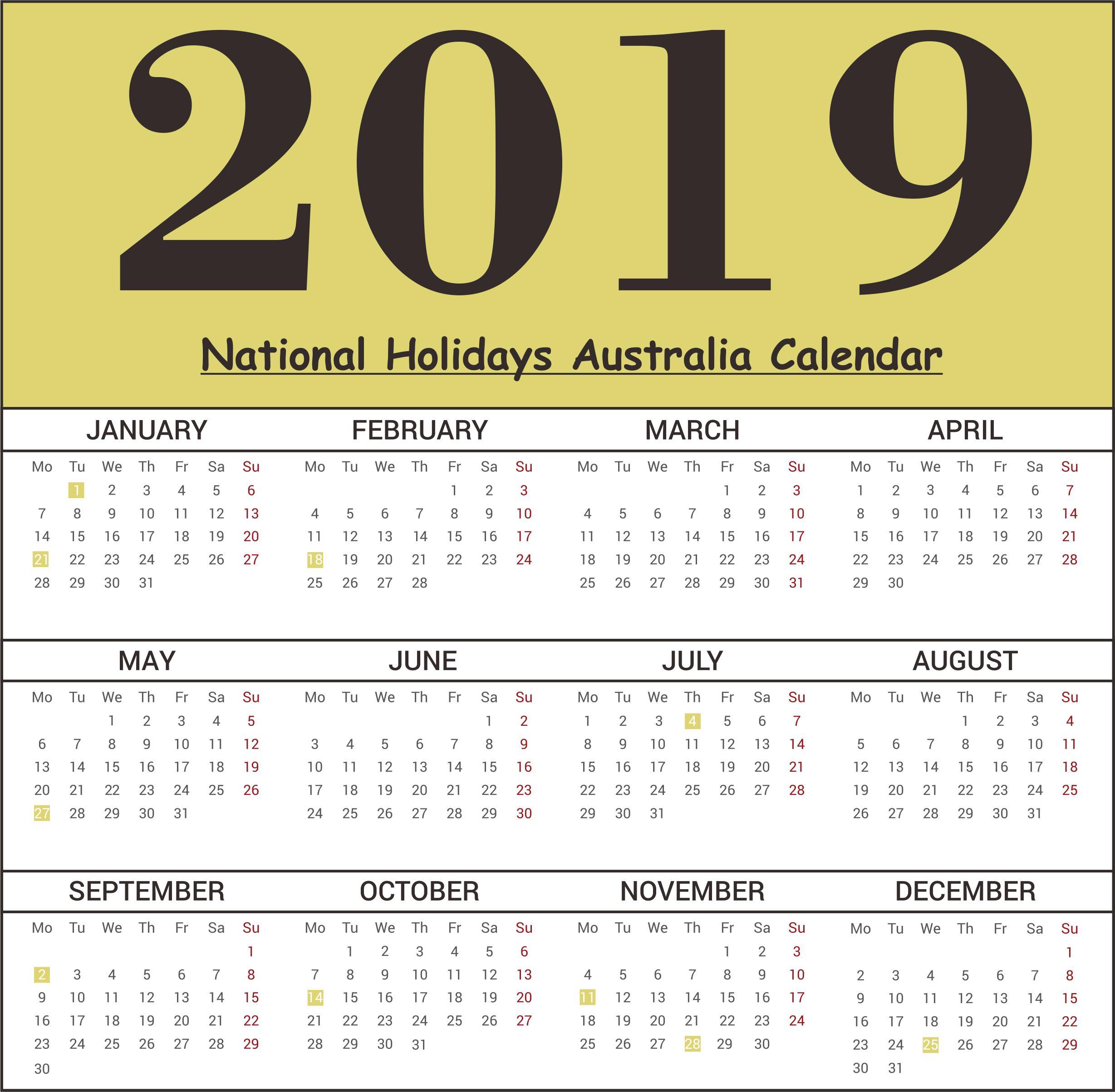 Australia National Holidays 2019 Templates
