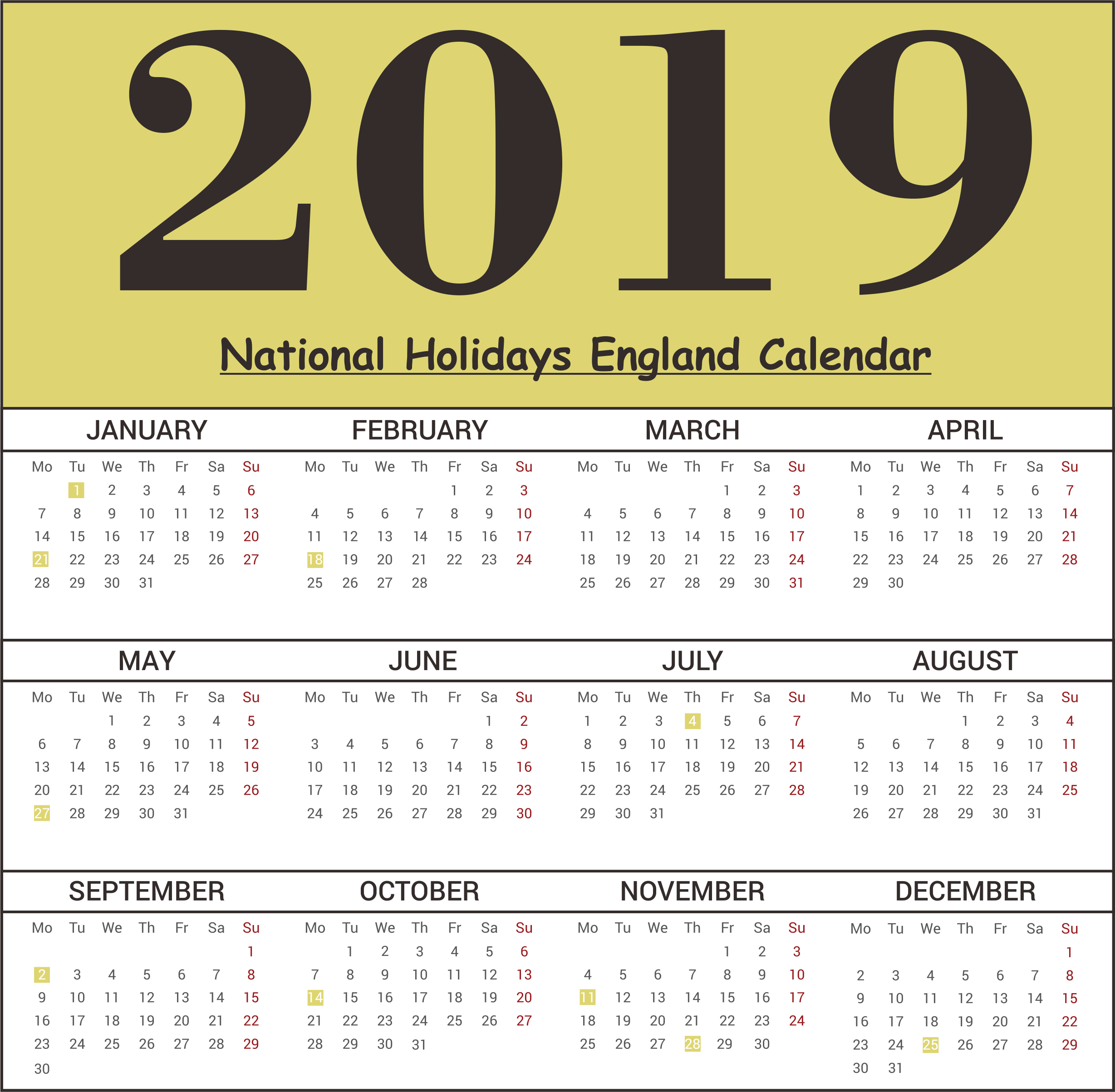 2019 England National Holidays Calendar