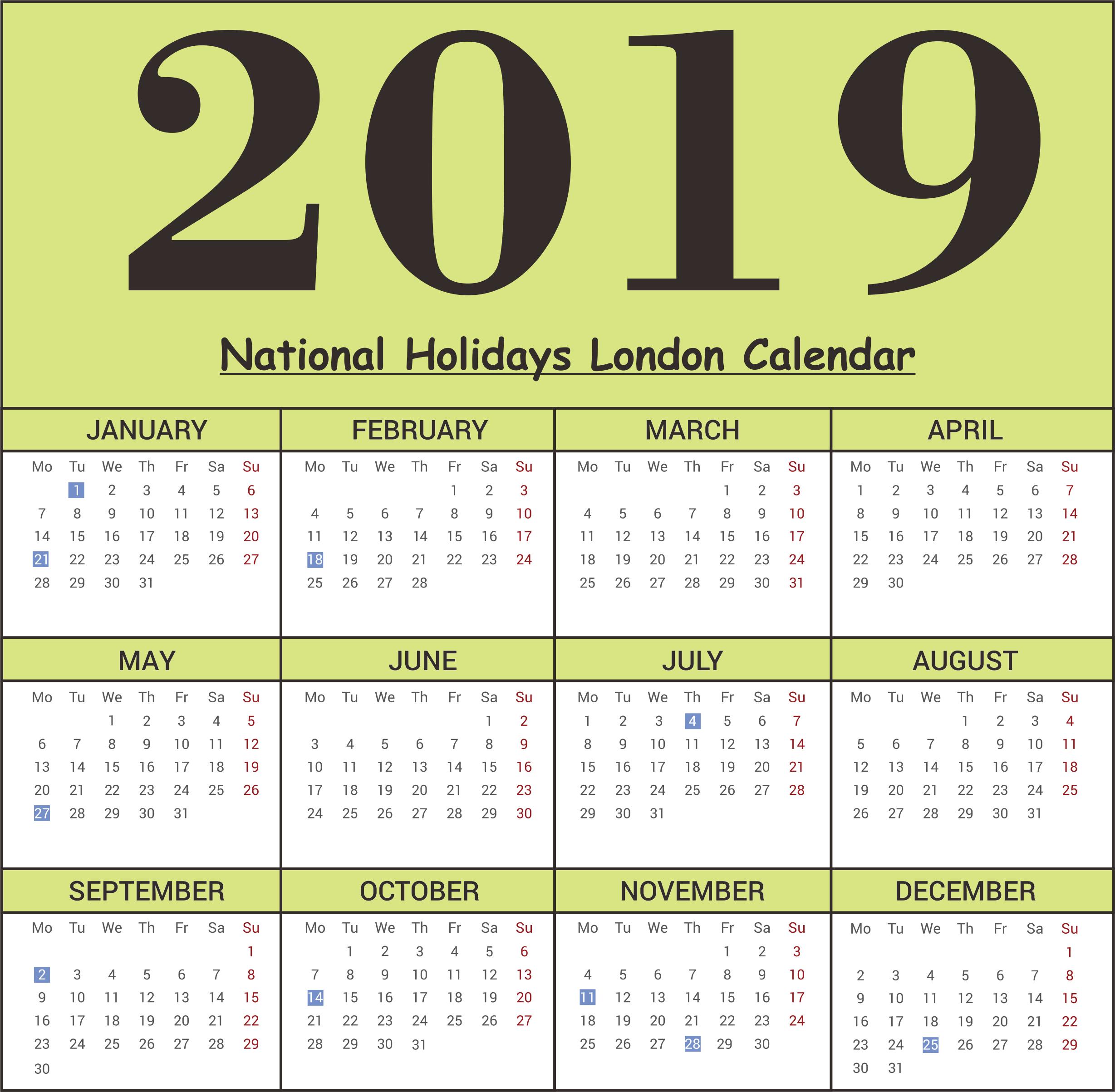 2019 National Holidays London