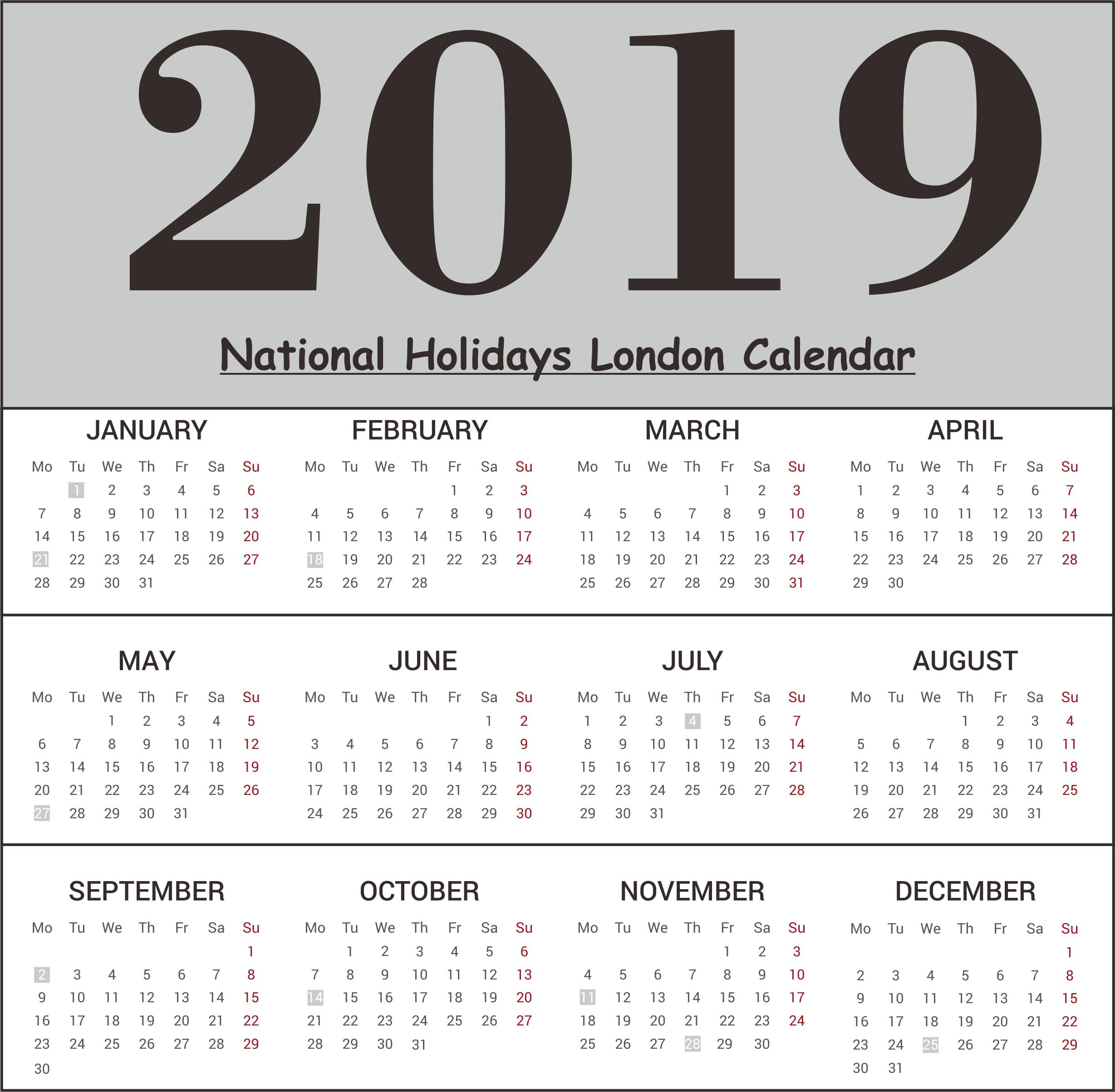 London National Holidays 2019 Calendar