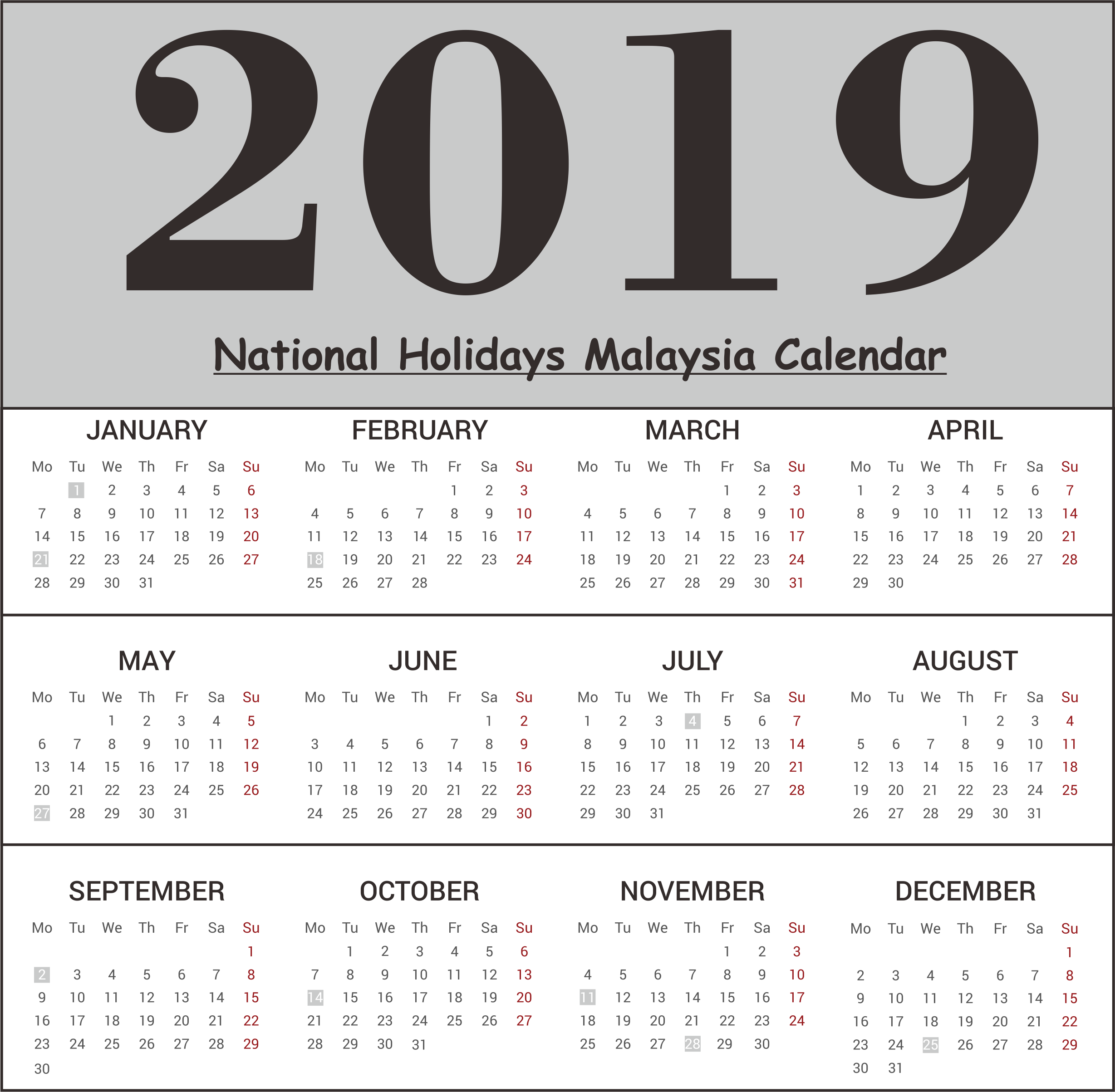 2019 Malaysia National Holidays Calendar