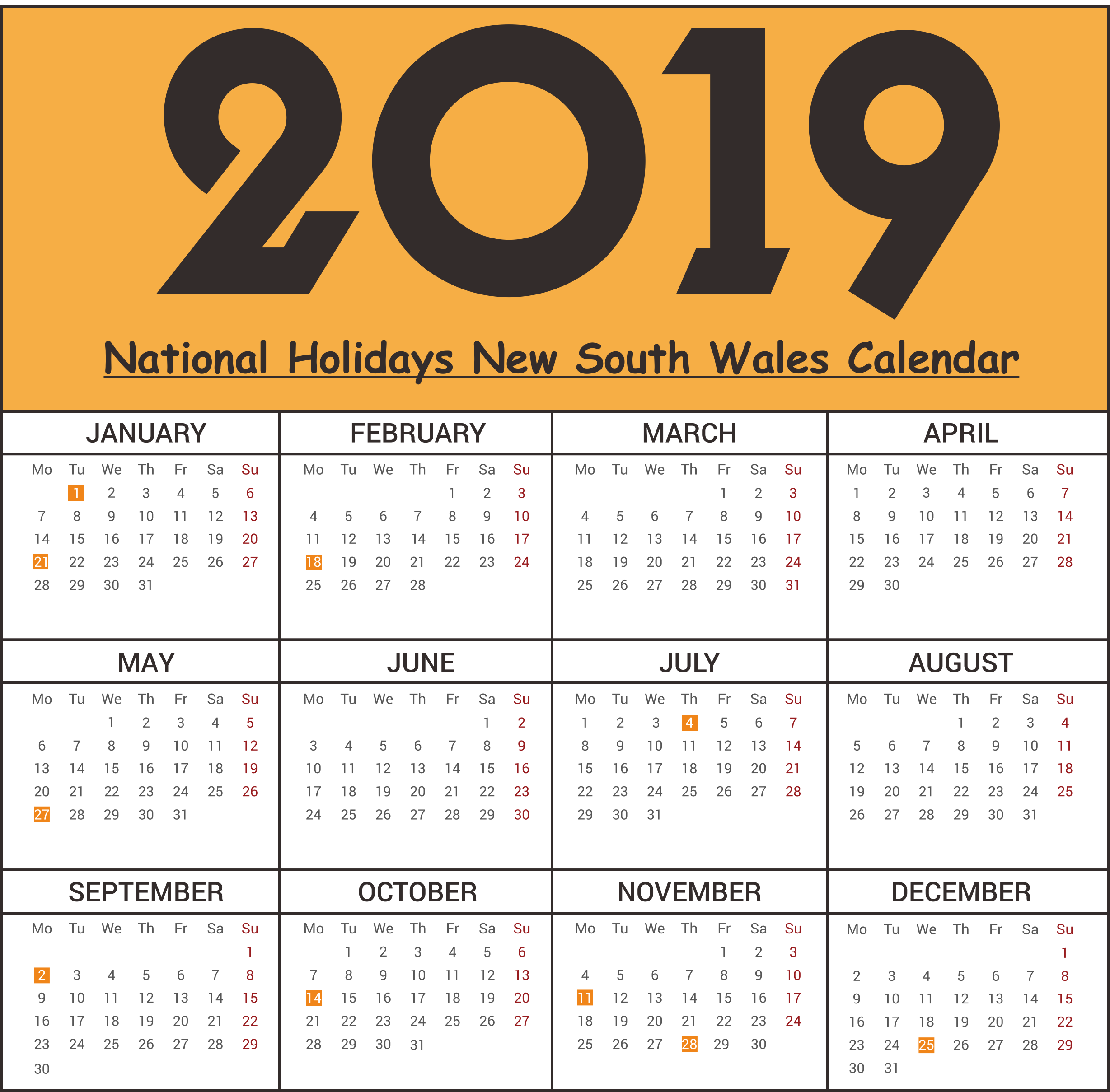 National Holidays 2019 NSW (New South Wales)