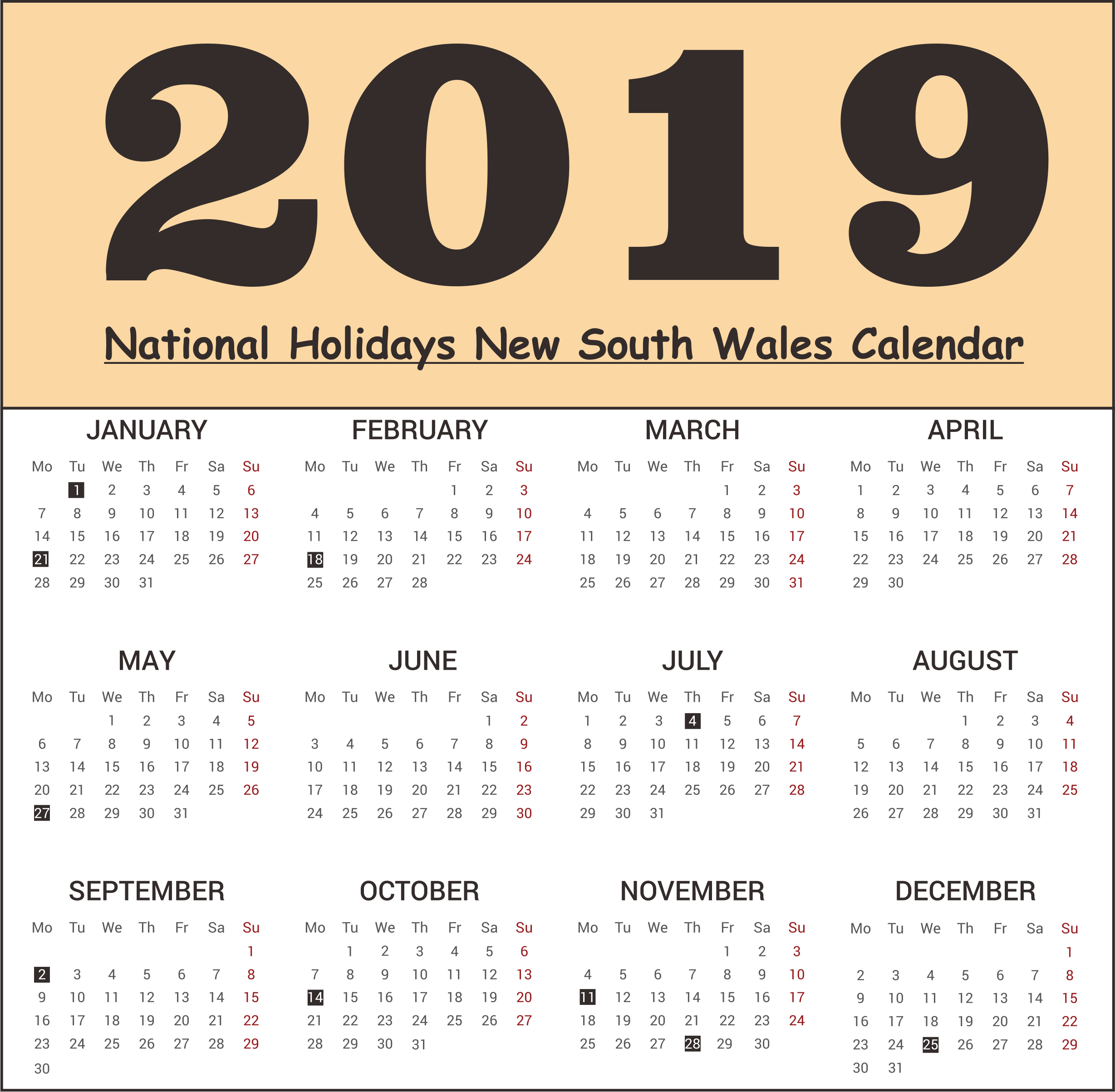 NSW National Holidays 2019 Templates