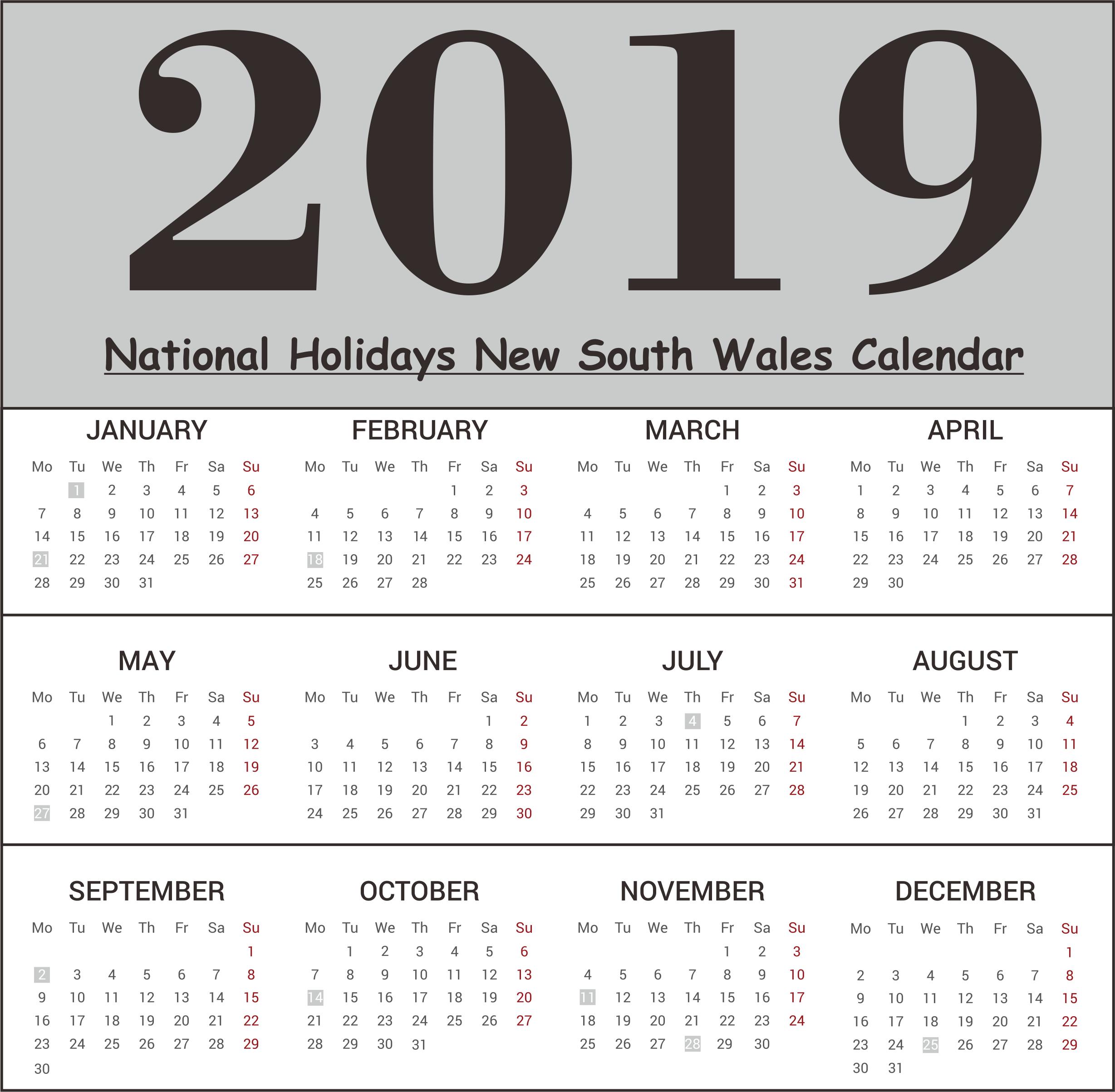 NSW National Holidays 2019 Calendar