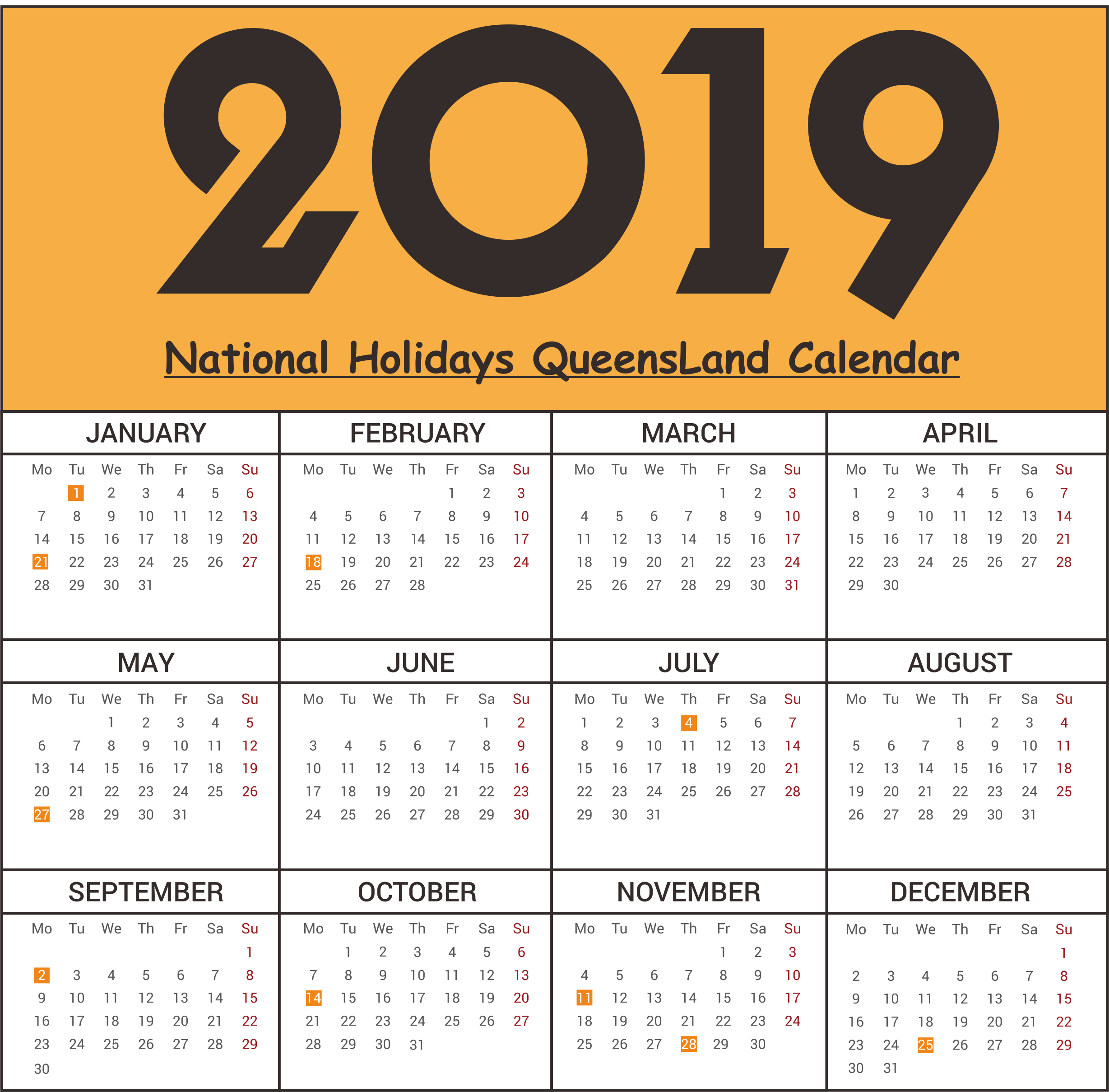 National Holidays QLD (Queensland) 2019 Printable