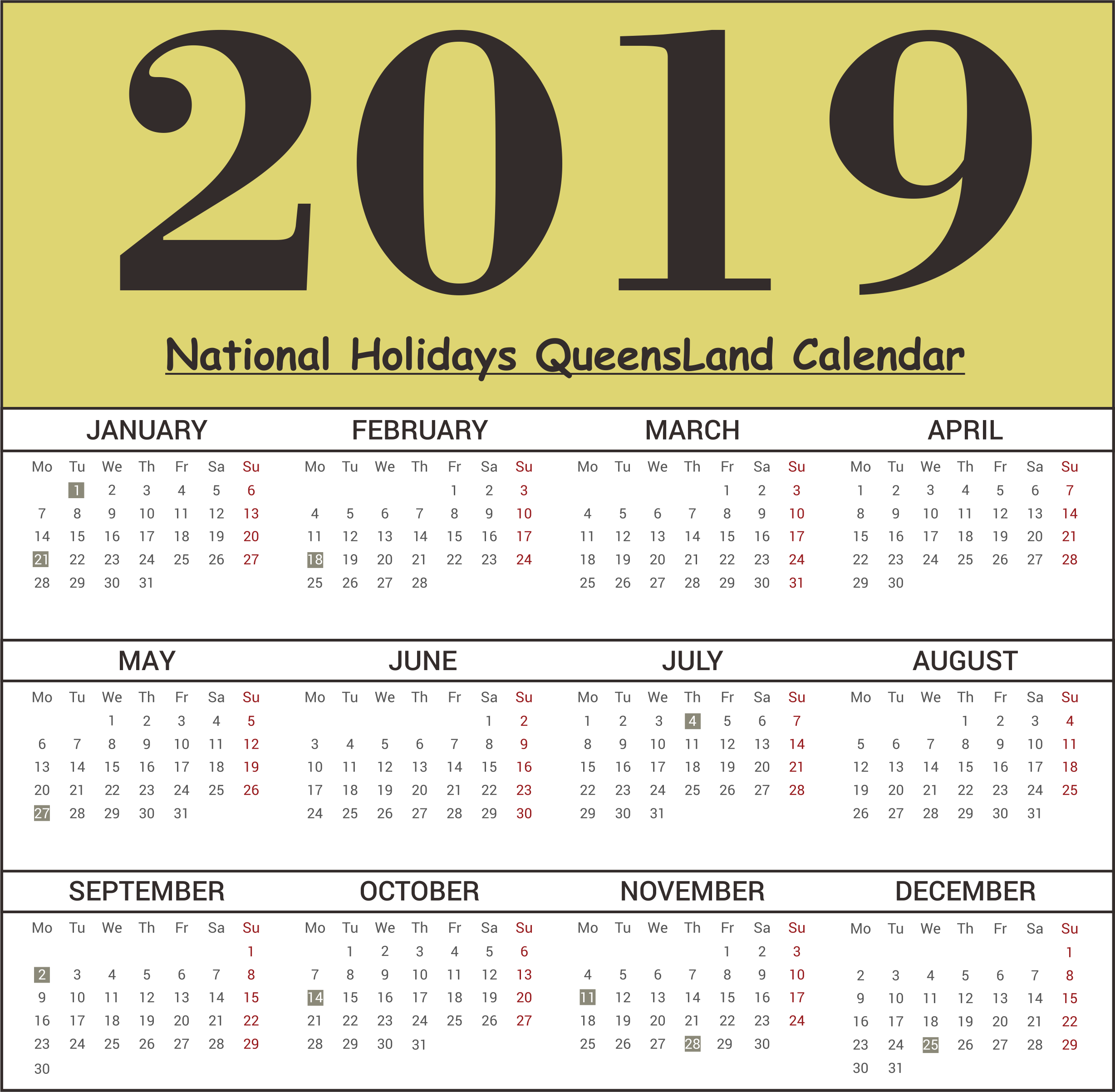2019 QLD National Holidays Calendar