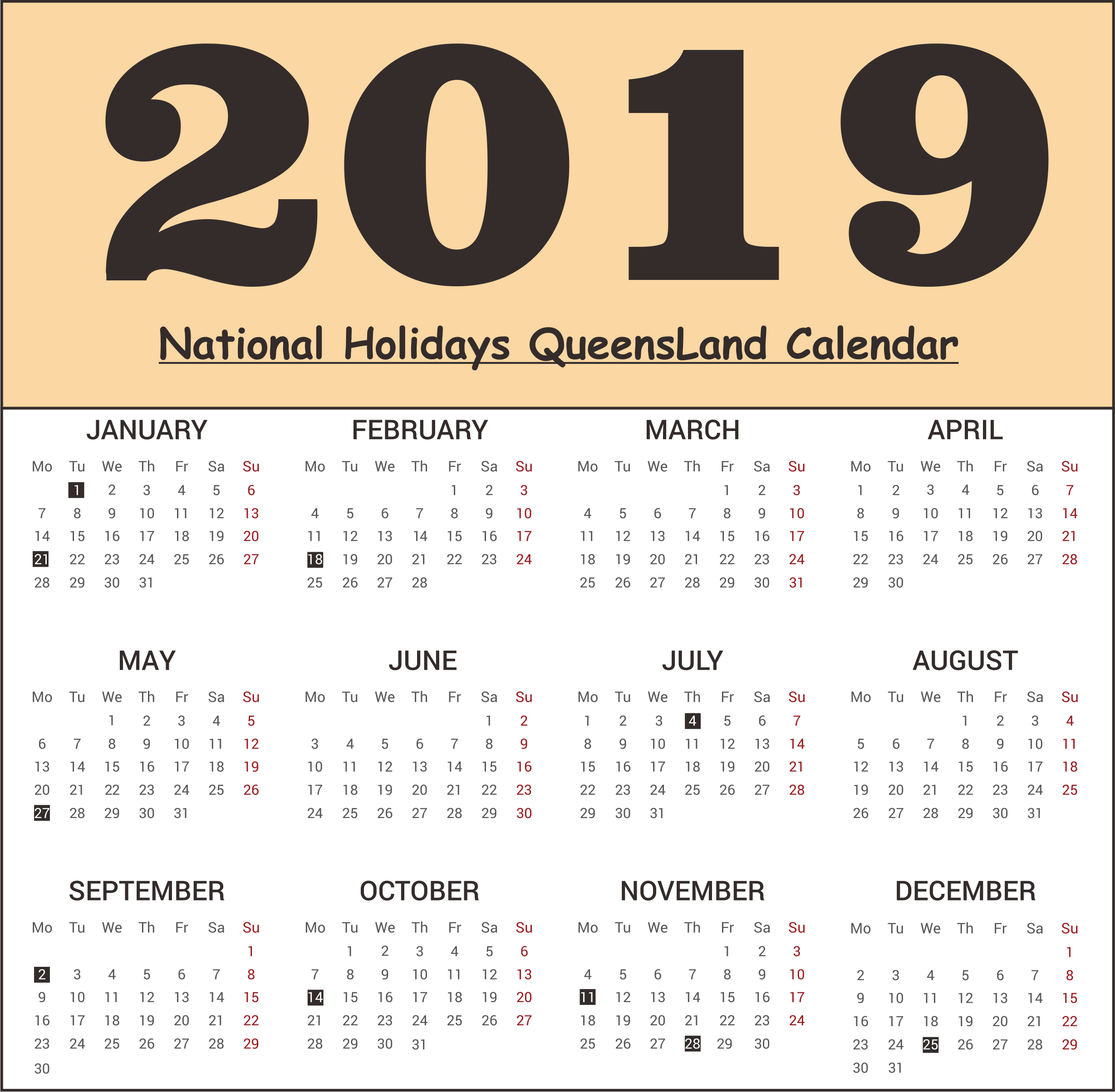 QLD National Holidays 2019 Templates