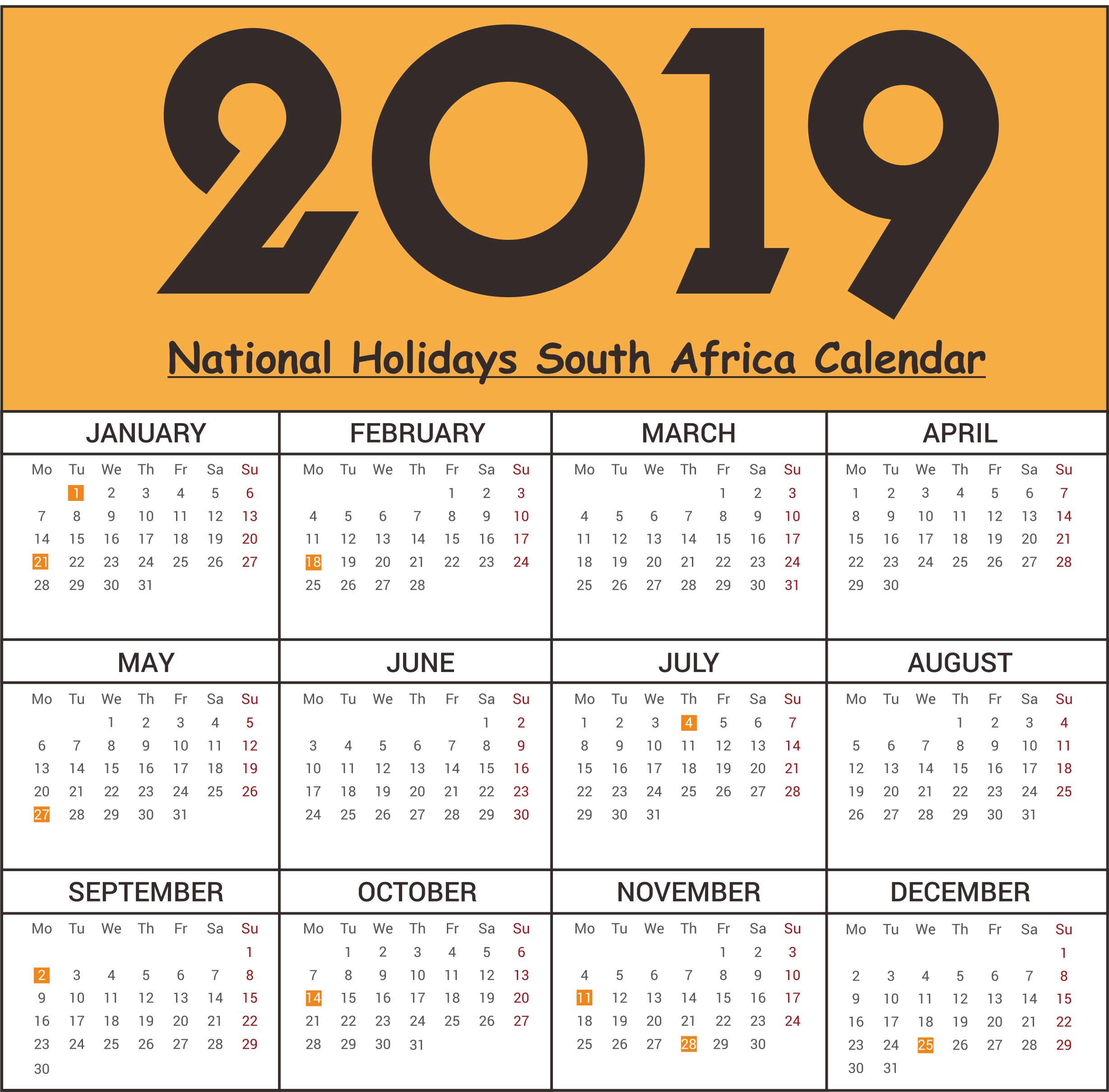 SA National Holidays 2019 Templates