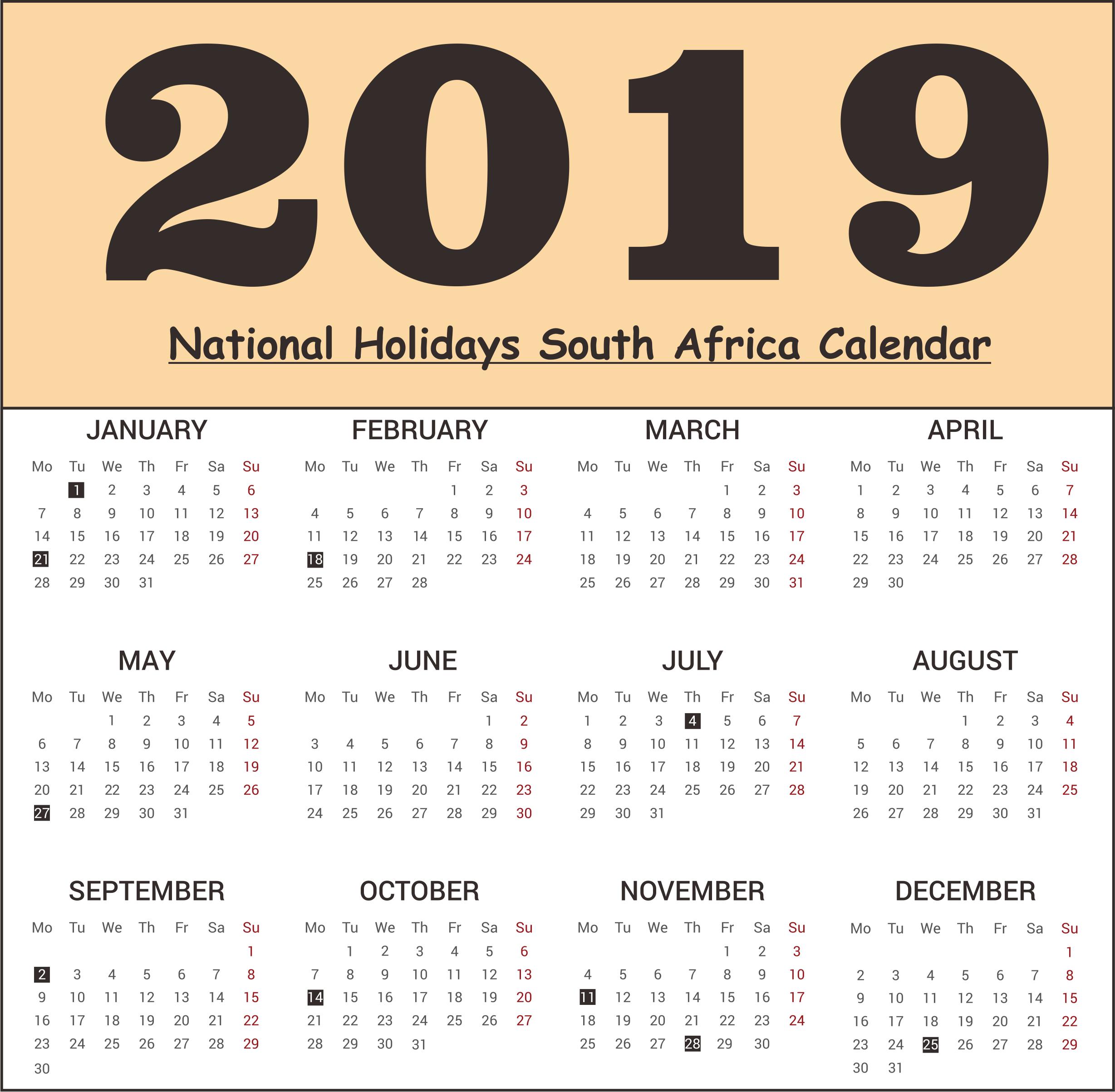 SA National Holidays 2019 Calendar