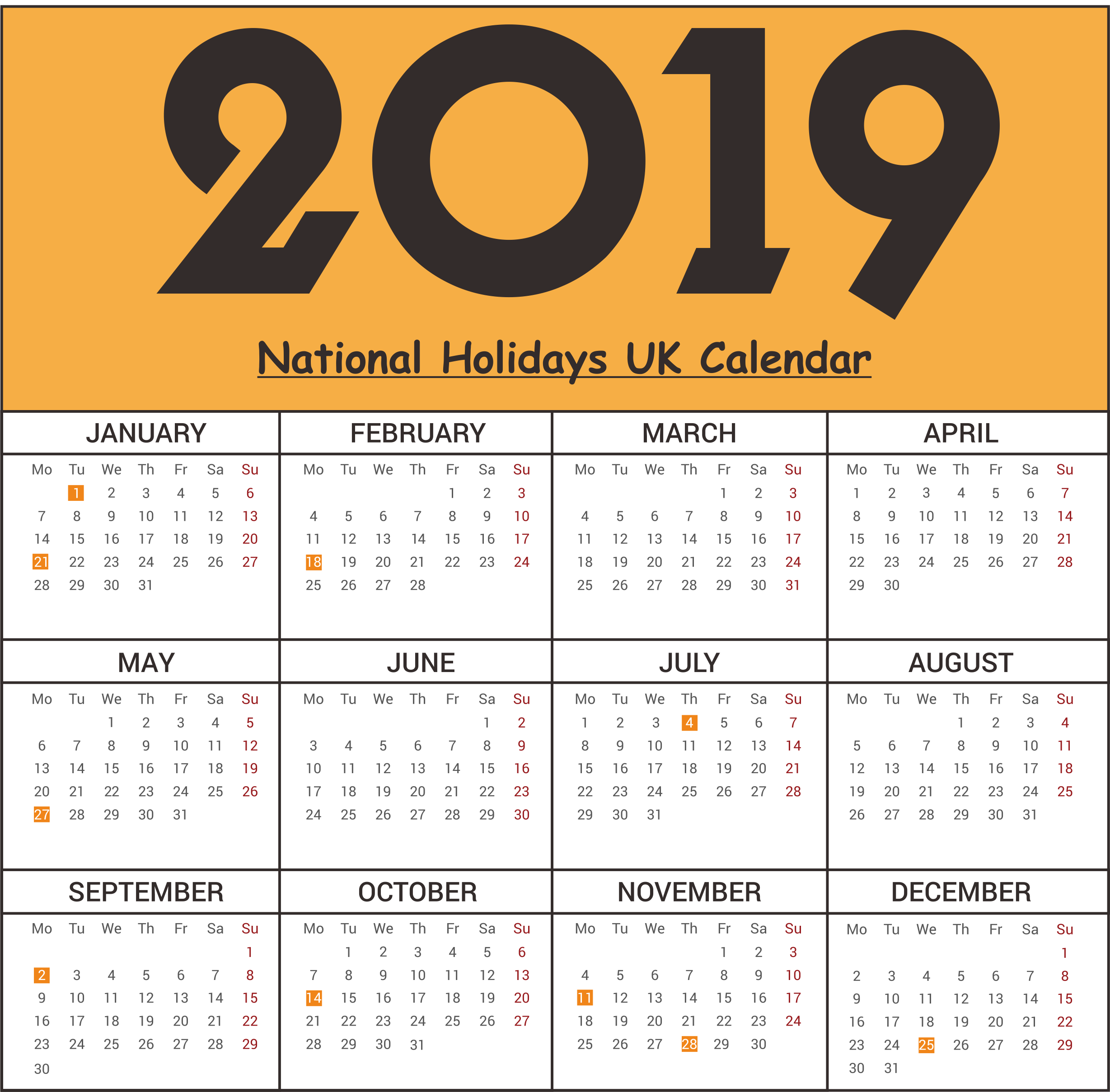 National Holidays 2019 UK