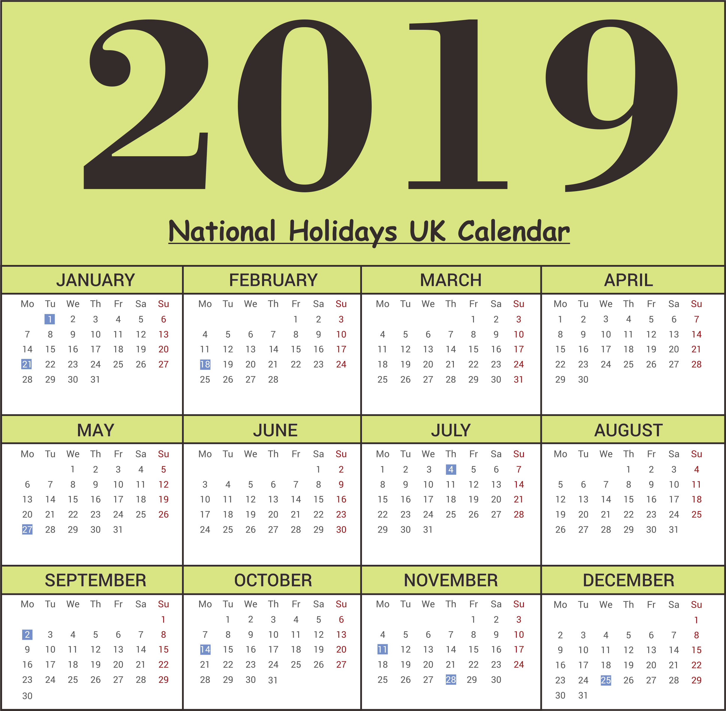 UK National Holidays 2019 Calendar