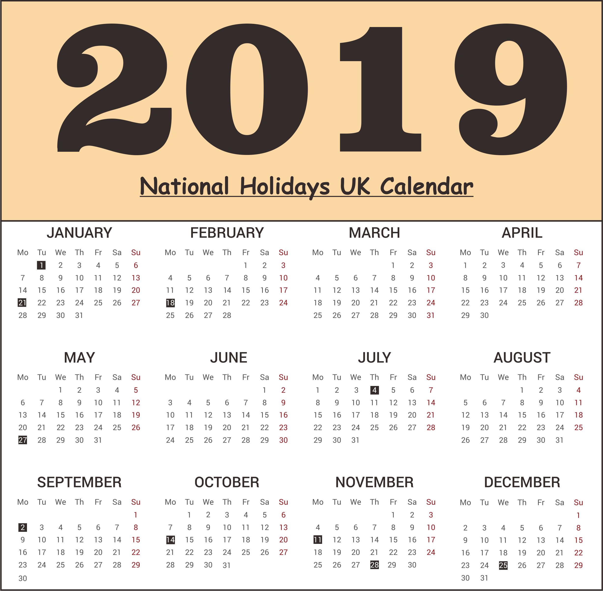 UK National Holidays 2019 Templates