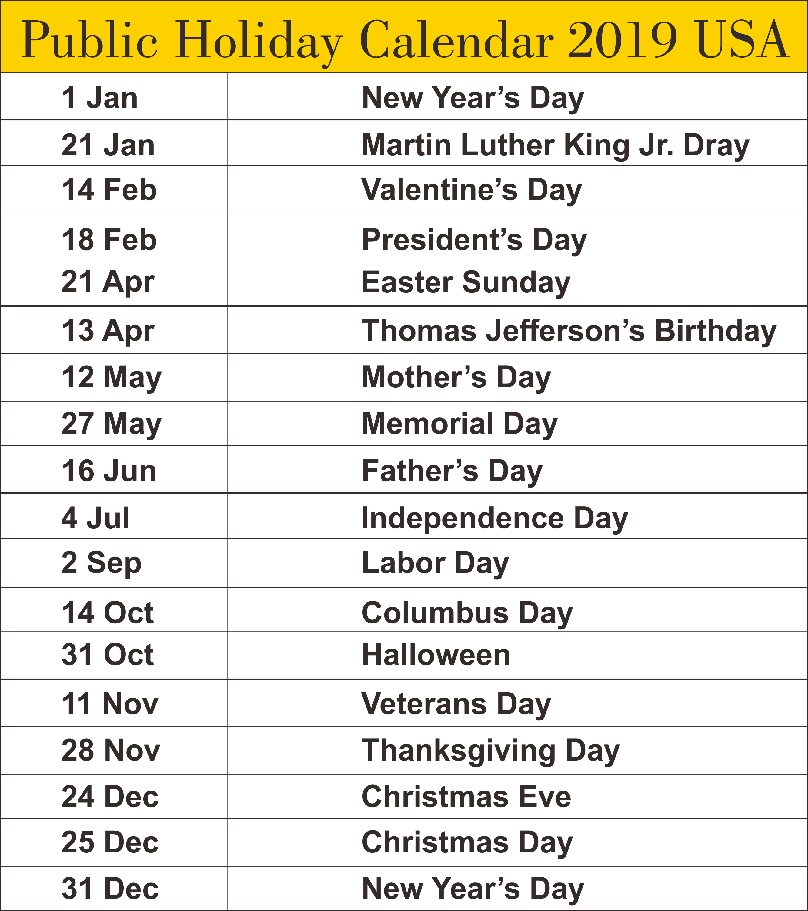 USA Public Holiday 2019 Templates
