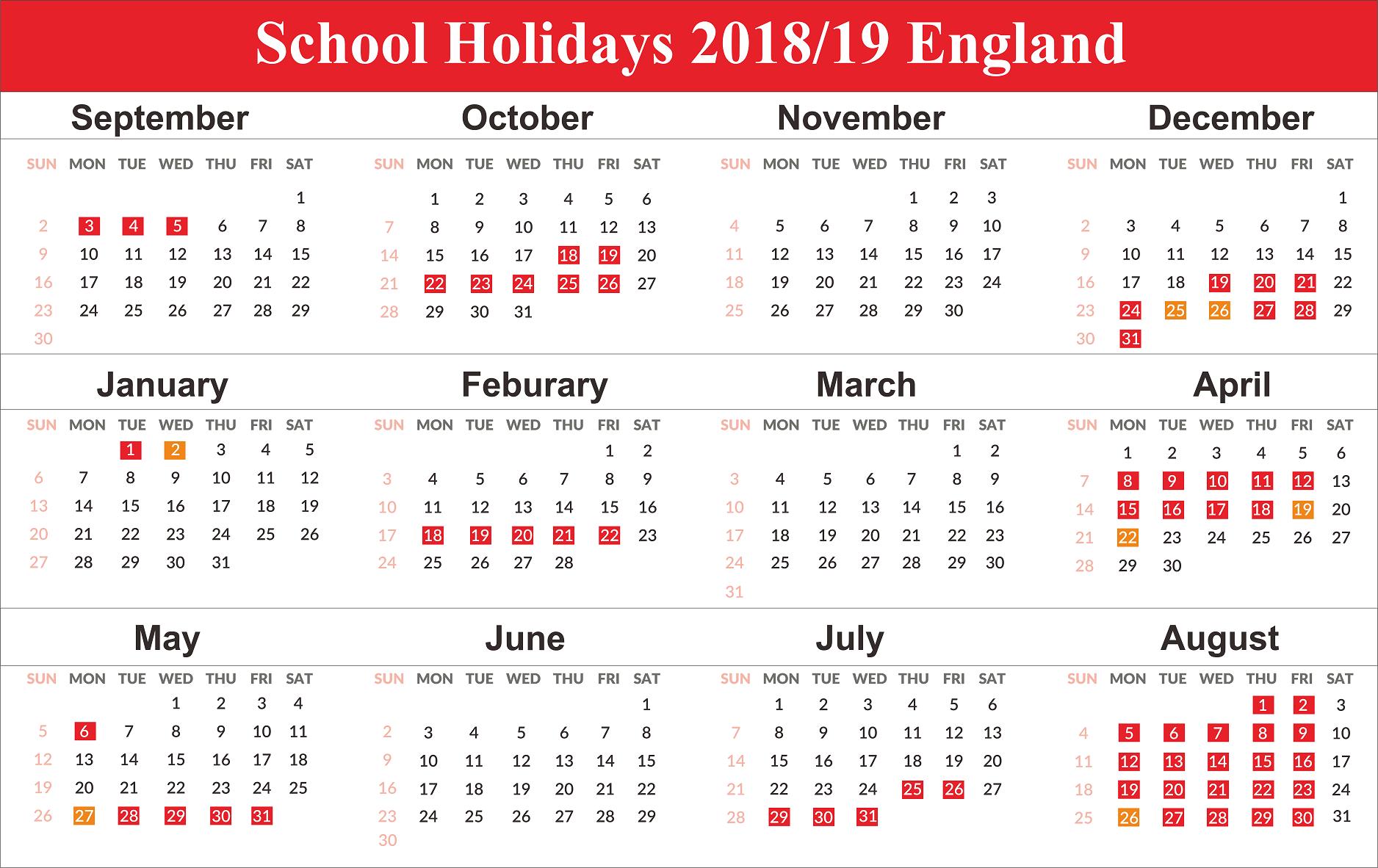 England School Holidays 2019