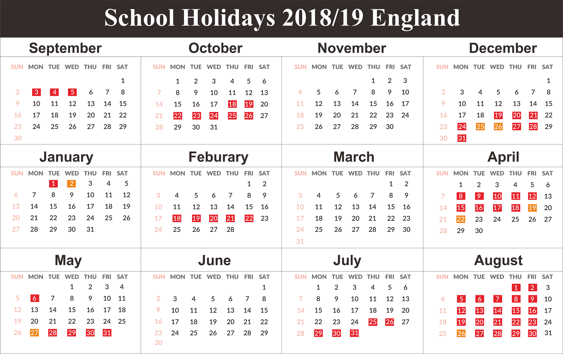 England School Holidays 2019 Calendar