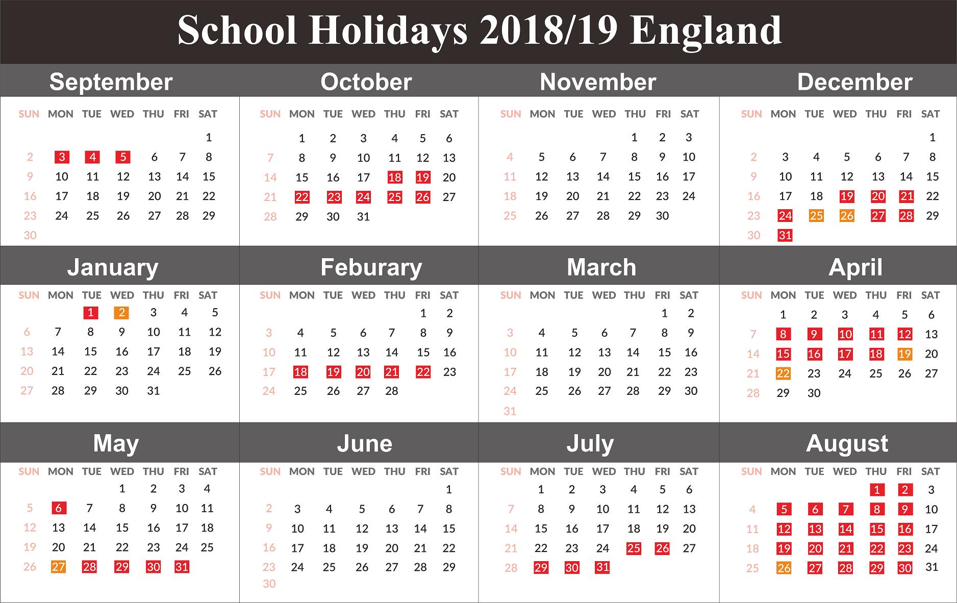 England School Holidays 2019 Dates
