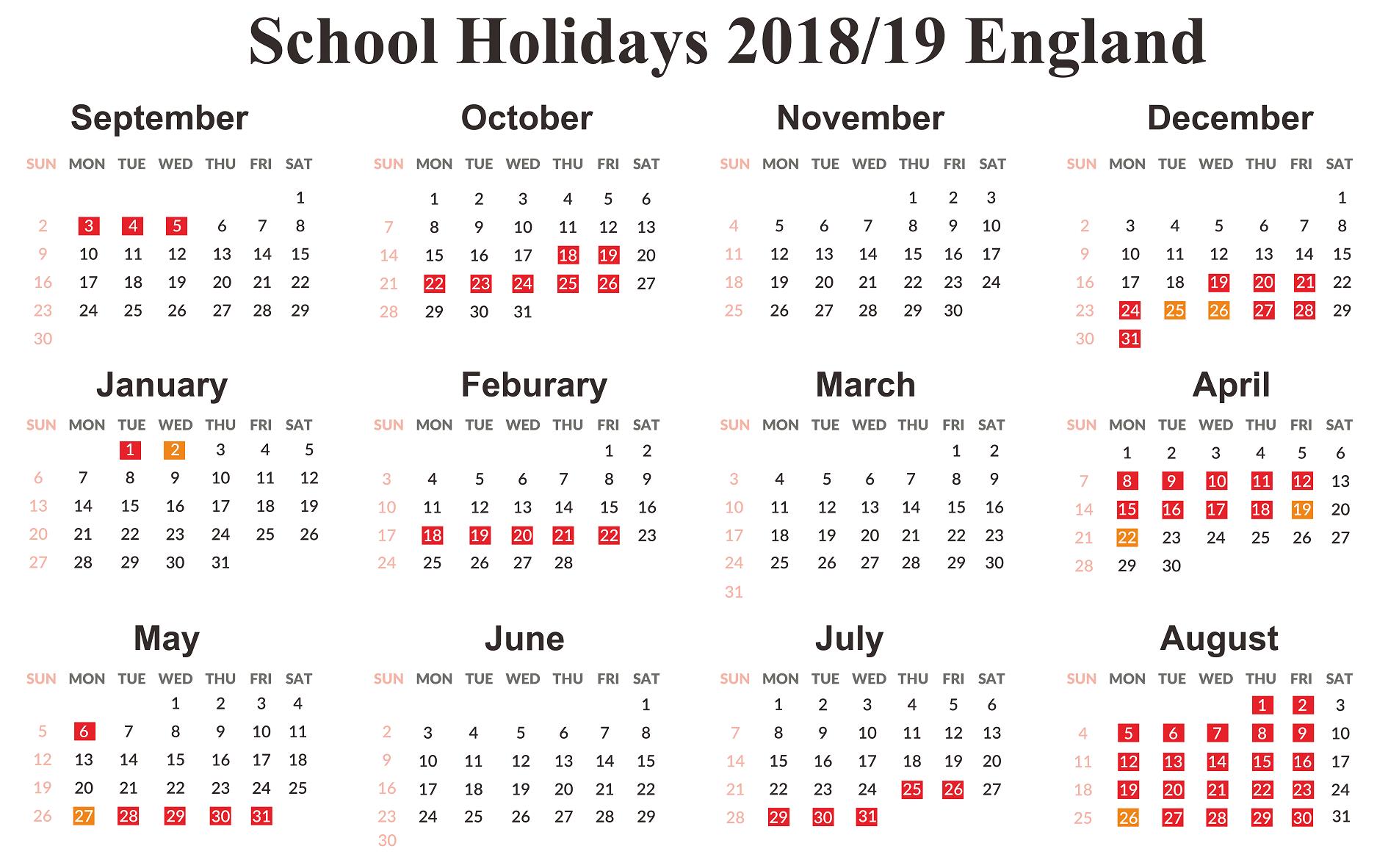 England Calendar 2019 Printable