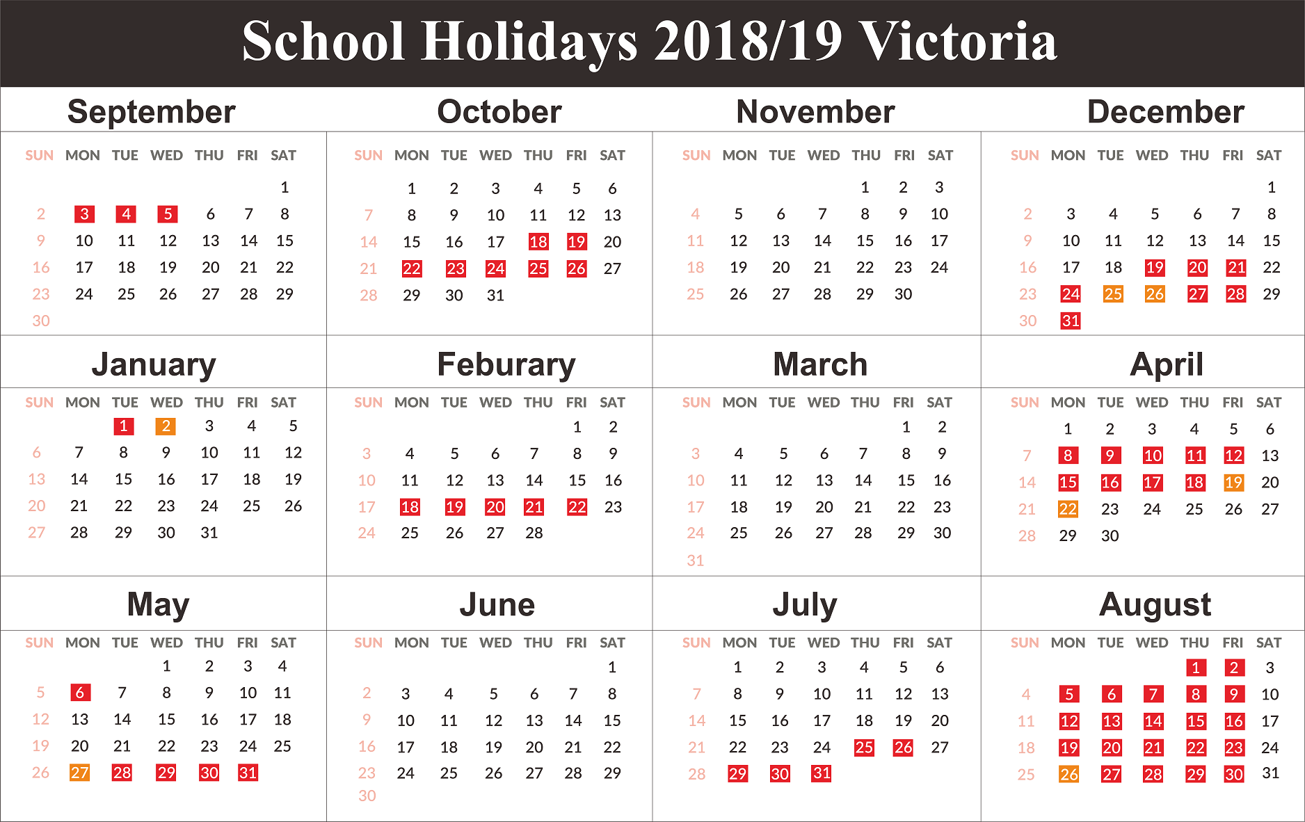 Victoria School Holidays Dates 2019