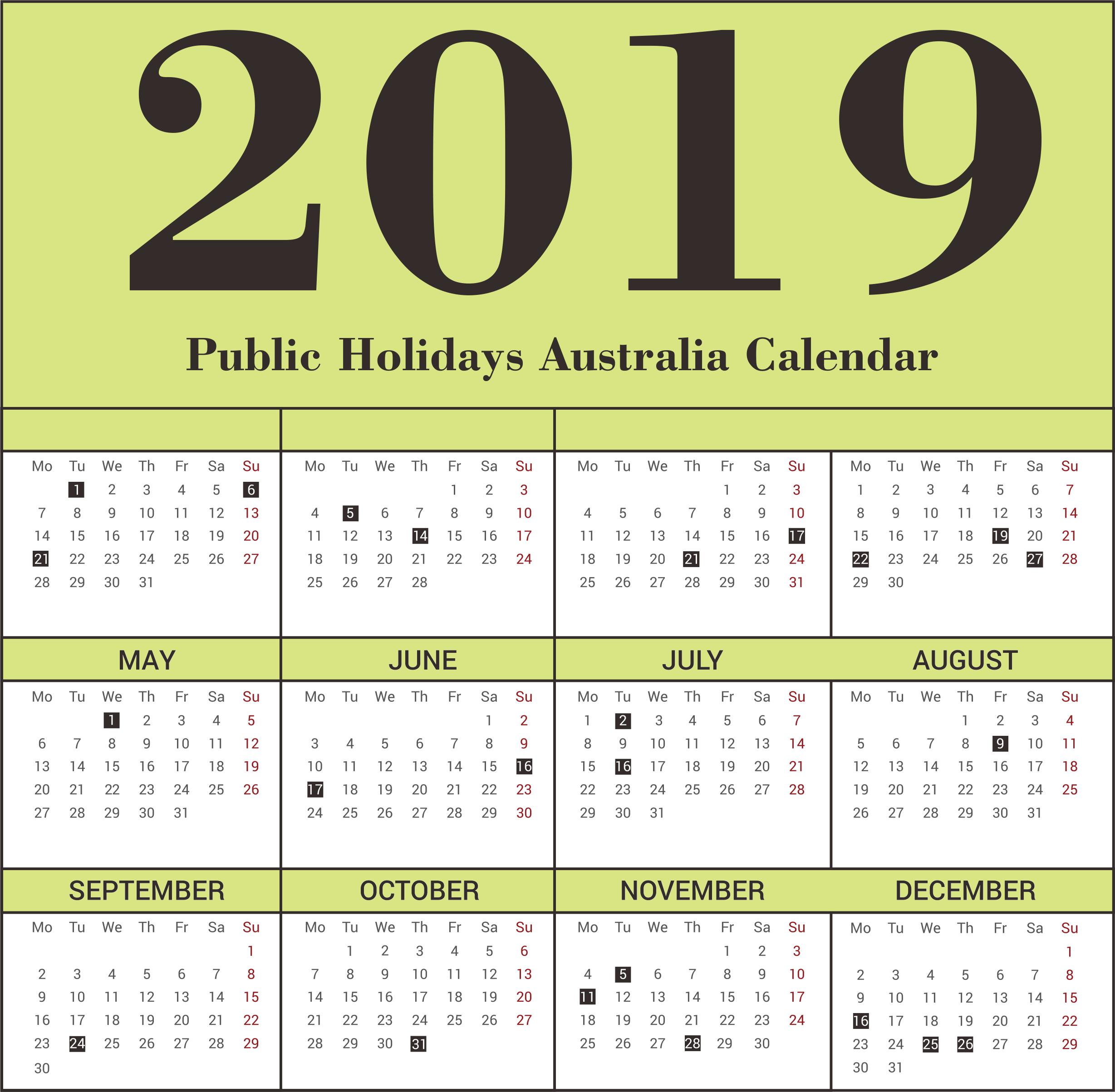 Australia Public Holiday 2019 Calendar