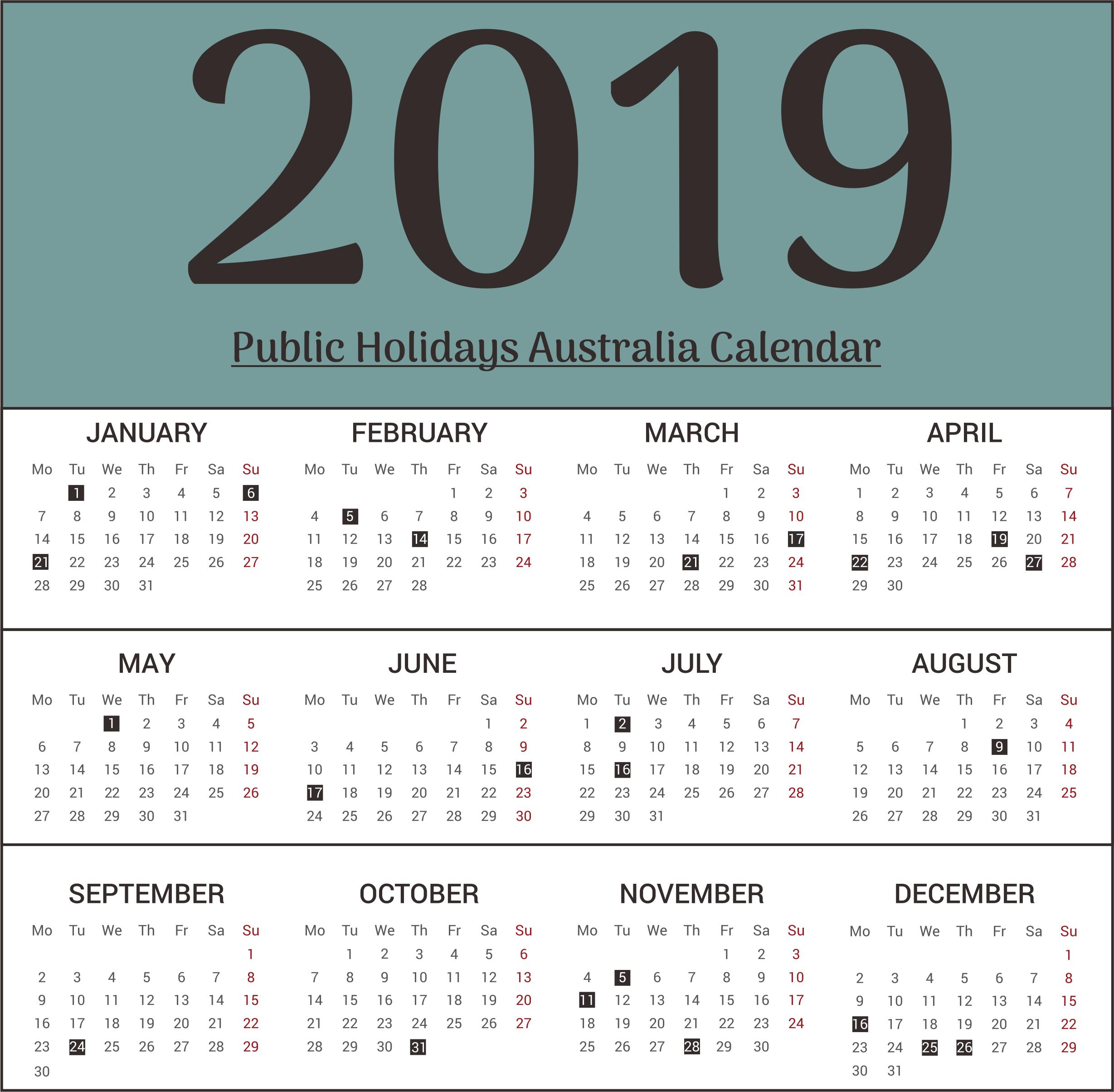 Australia Public Holiday 2019 Templates