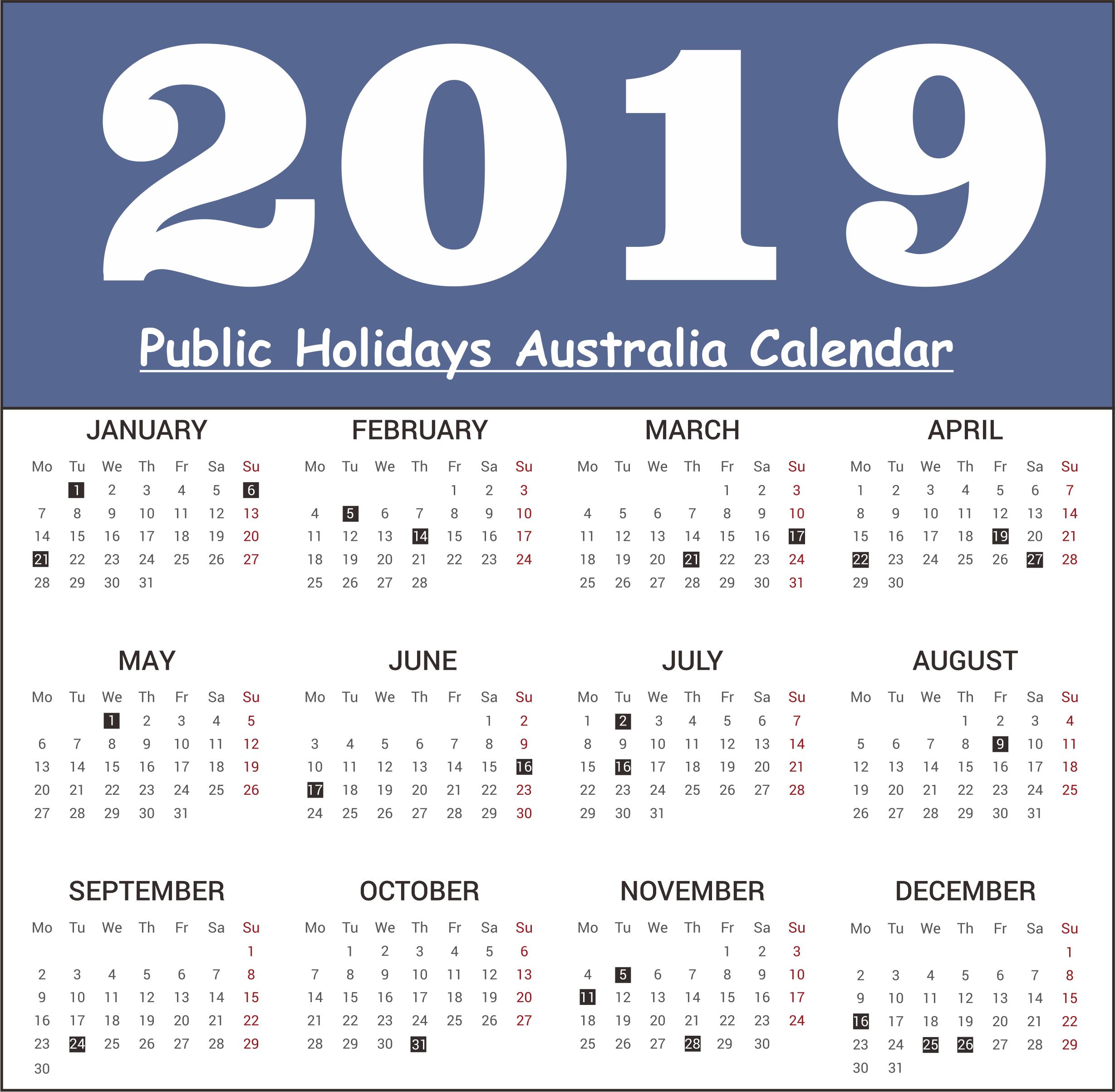 Public Holiday 2019 Australia