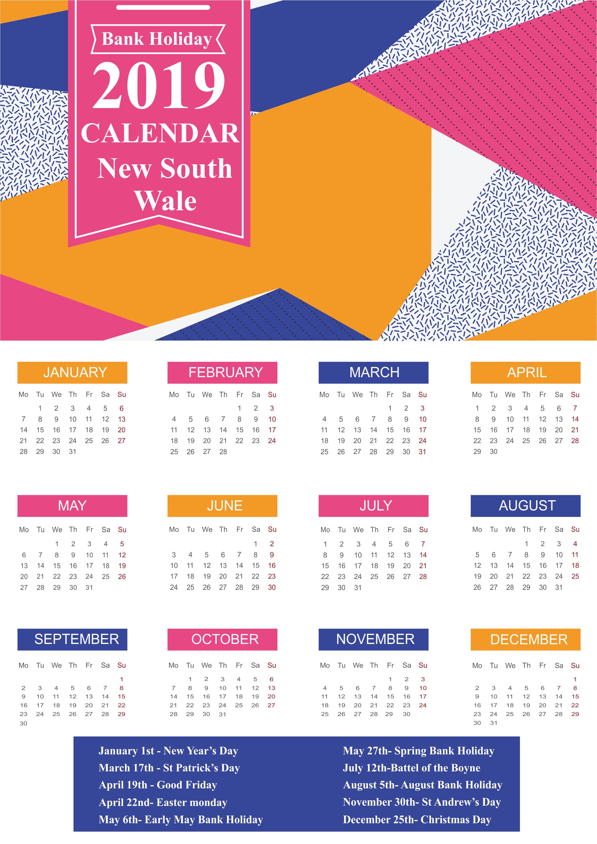 Bank Holidays 2019 NSW