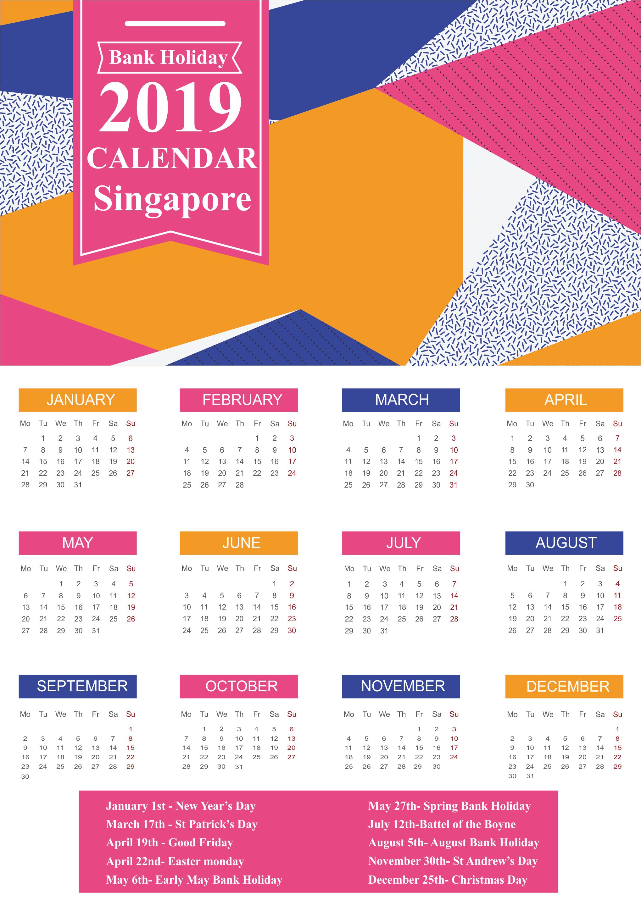 Singapore Bank Holidays 2019 Templates
