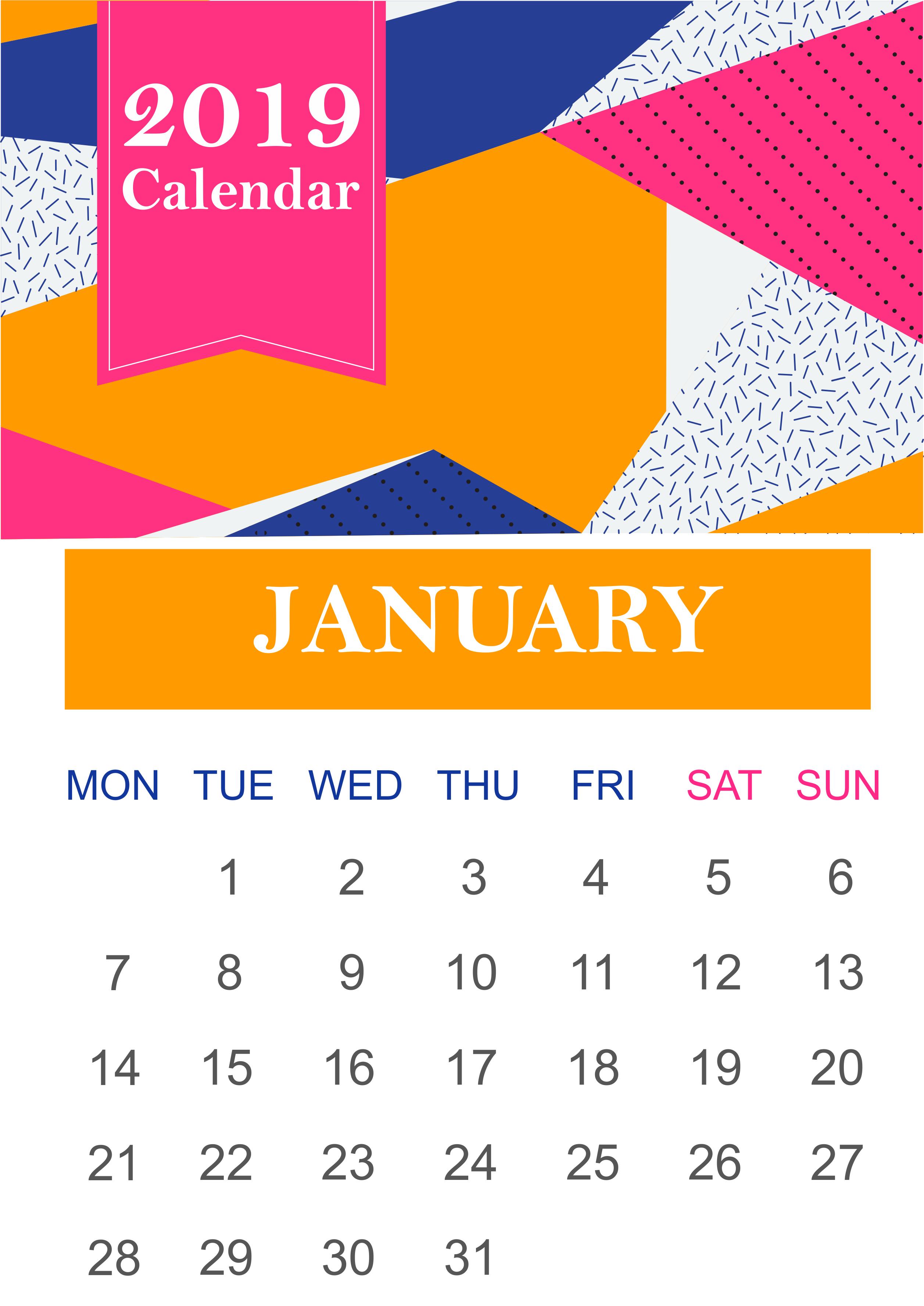 January 2019 Calendar PDF