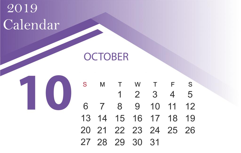 October 2019 Printable Calendar