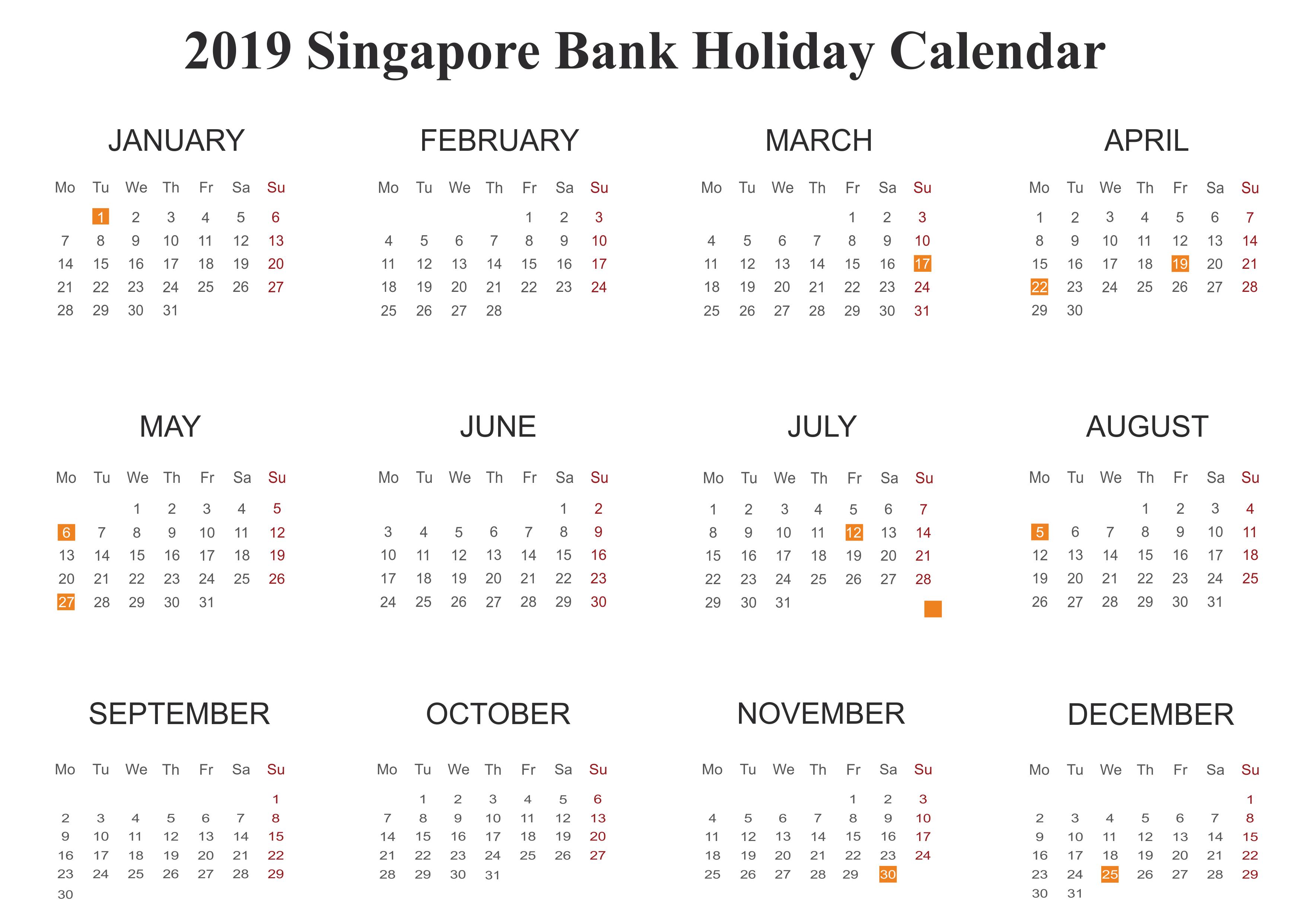 Bank Holidays 2019 Singapore